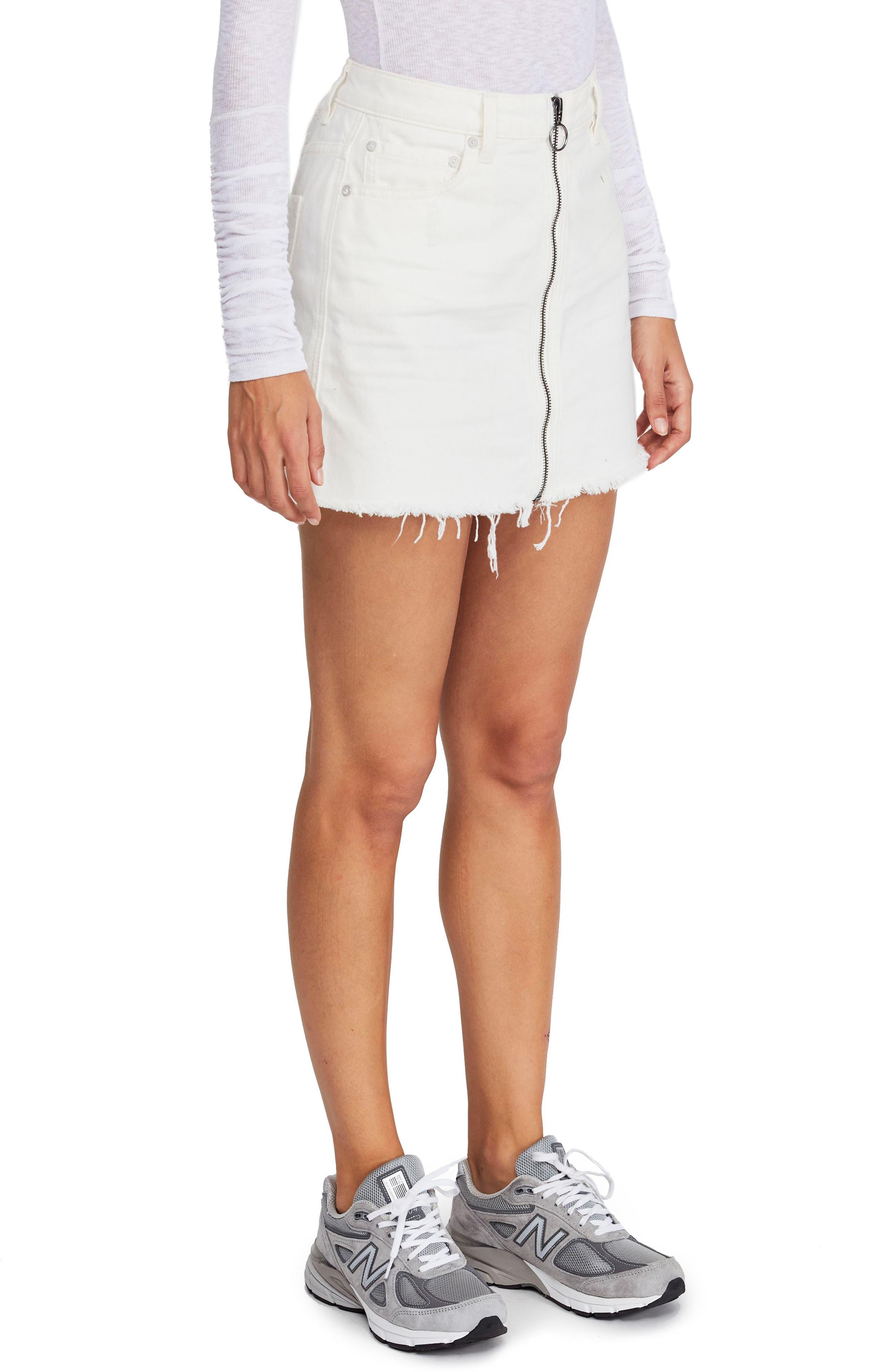 FREE PEOPLE,                             Zip It Up Denim Miniskirt,                             Main thumbnail 1, color,                             WHITE