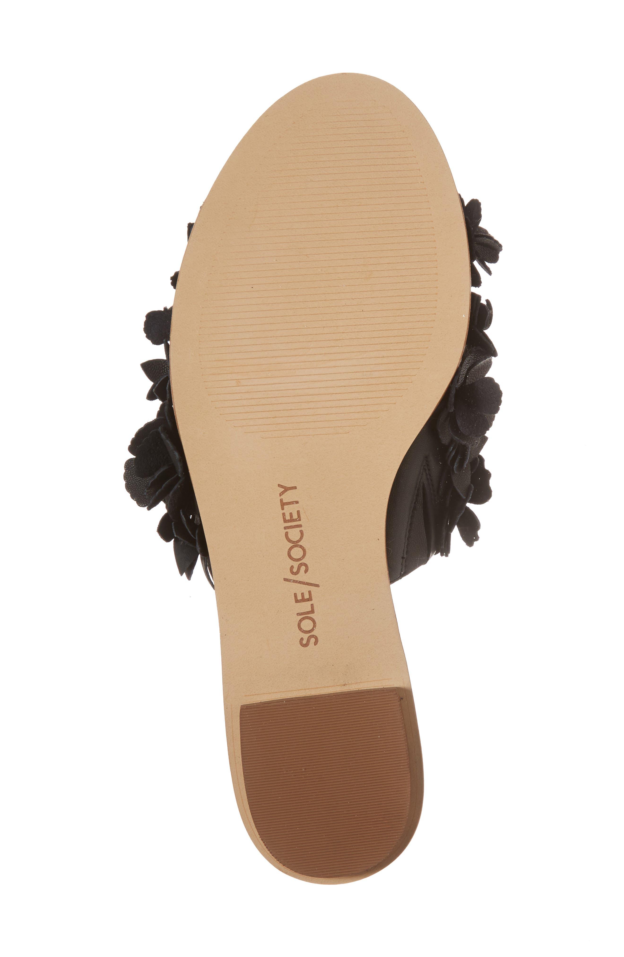 Caelyn Embellished Flat Sandal,                             Alternate thumbnail 6, color,                             BLACK