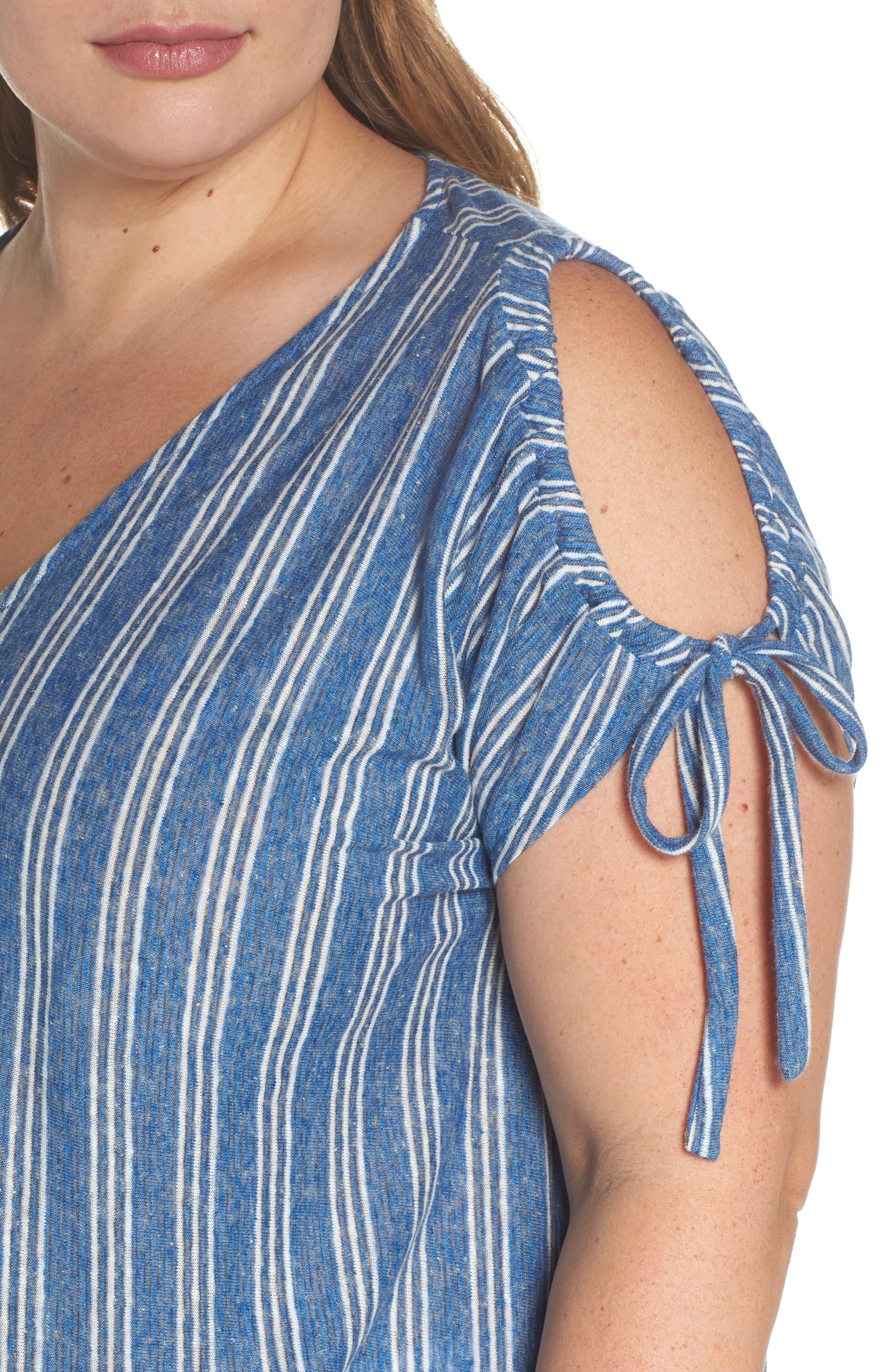 Stripe Tie Shoulder Linen Blend Tee,                             Alternate thumbnail 4, color,                             460
