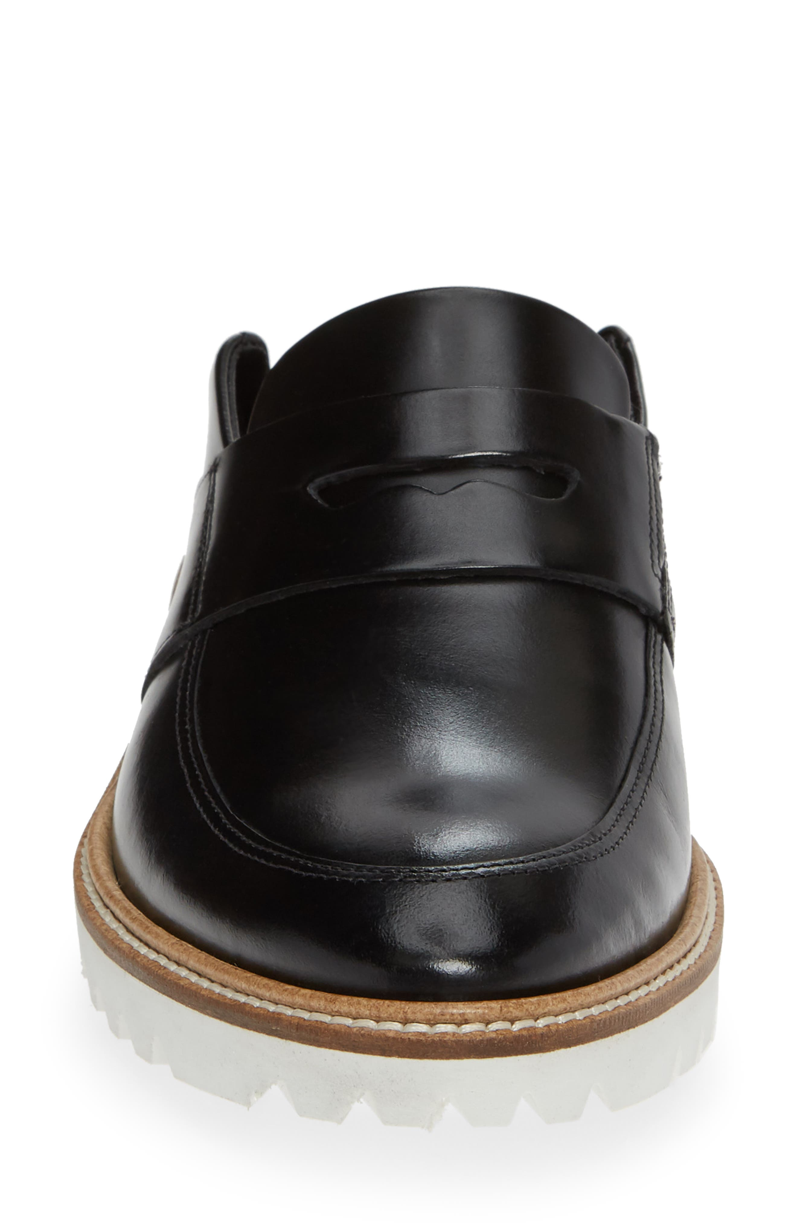Incise Tailored Convertible Loafer,                             Alternate thumbnail 5, color,                             BLACK LEATHER