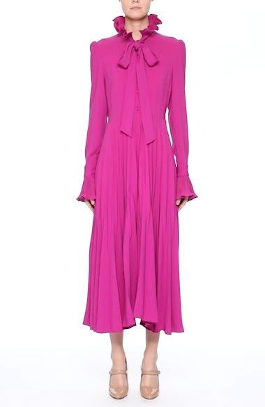 Ruffle & Pleated Midi Dress, video thumbnail
