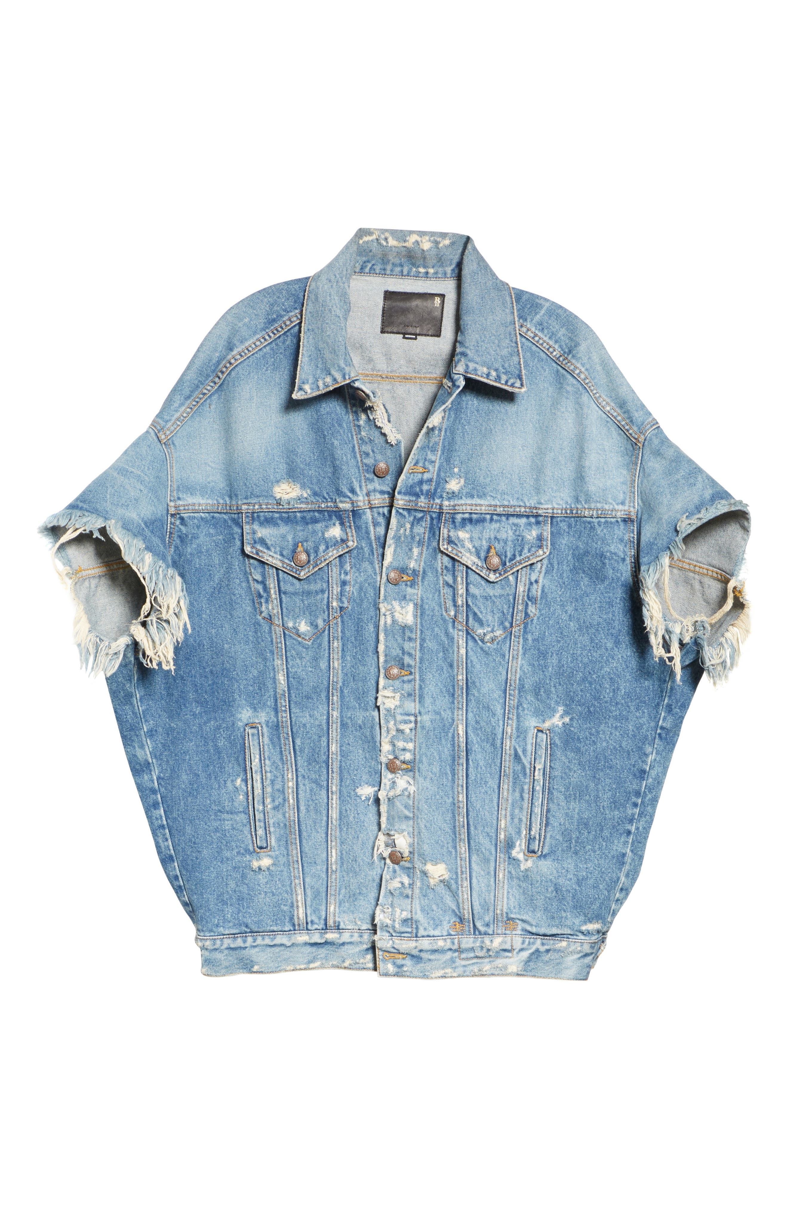 Oversized Cutoff Denim Jacket,                             Alternate thumbnail 5, color,                             BLUE