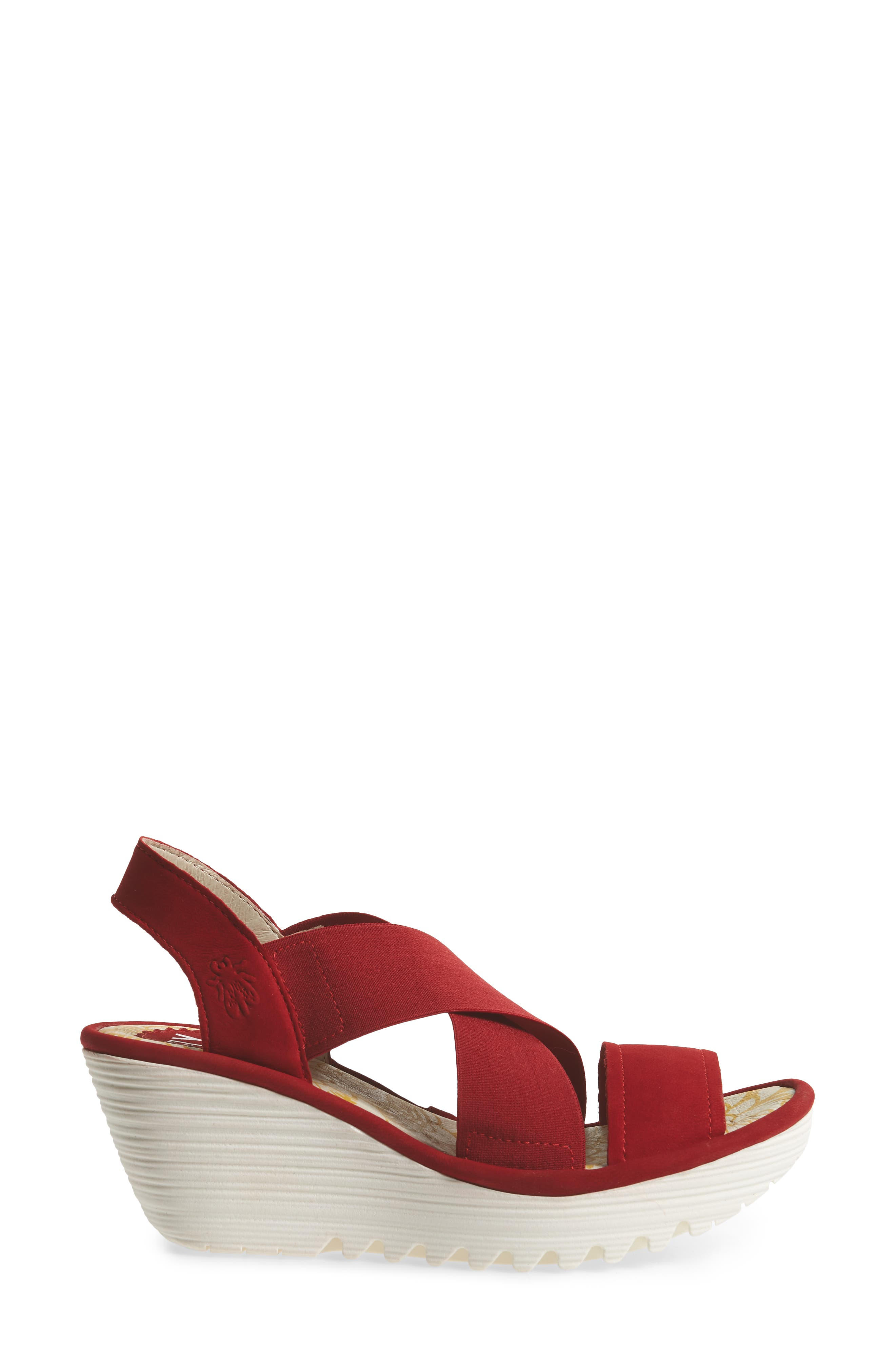 Yaji Cross Wedge Sandal,                             Alternate thumbnail 3, color,                             RED LEATHER