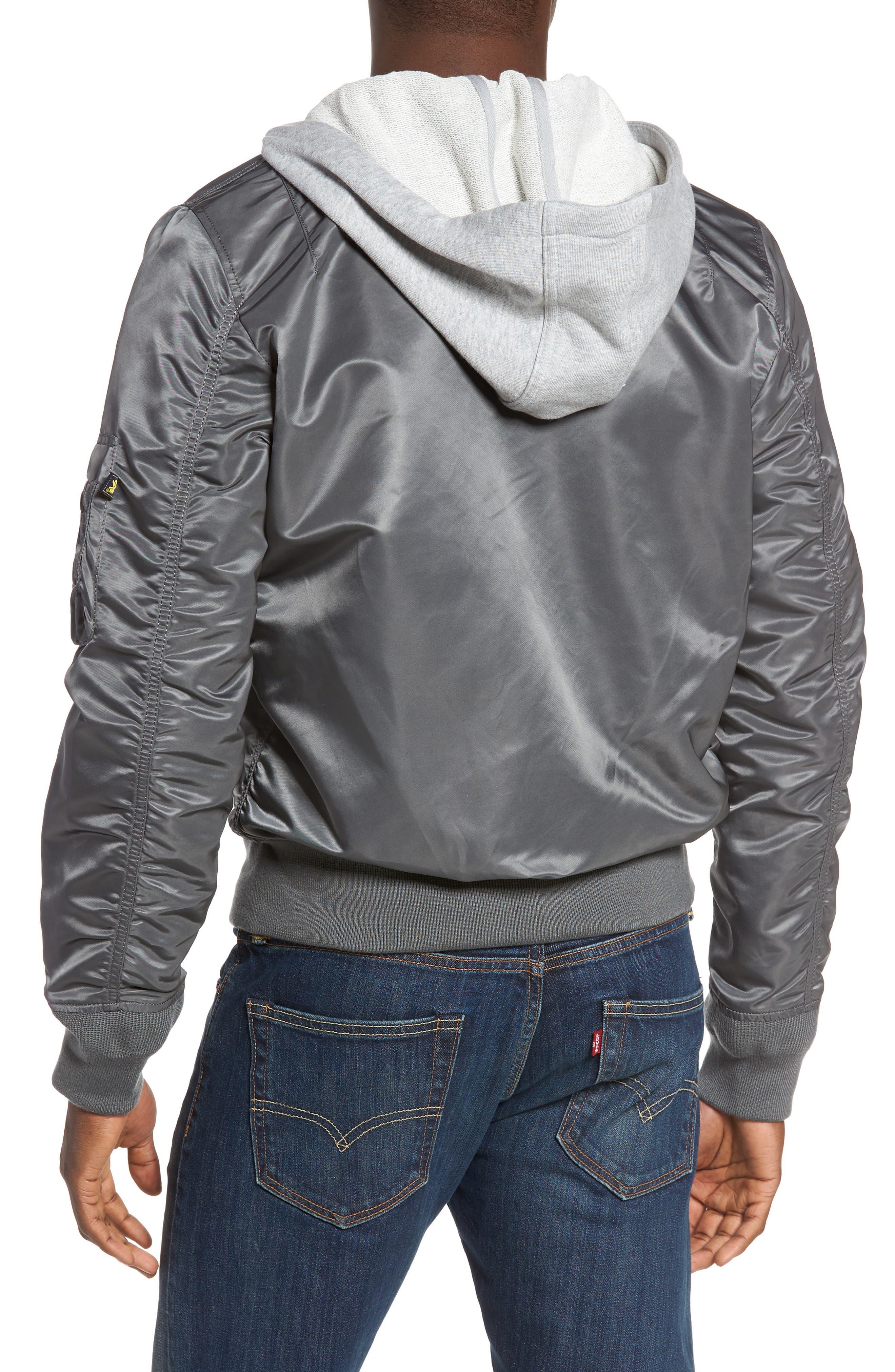 Lightweight L2-B Flight Jacket with Knit Hood,                             Alternate thumbnail 6, color,