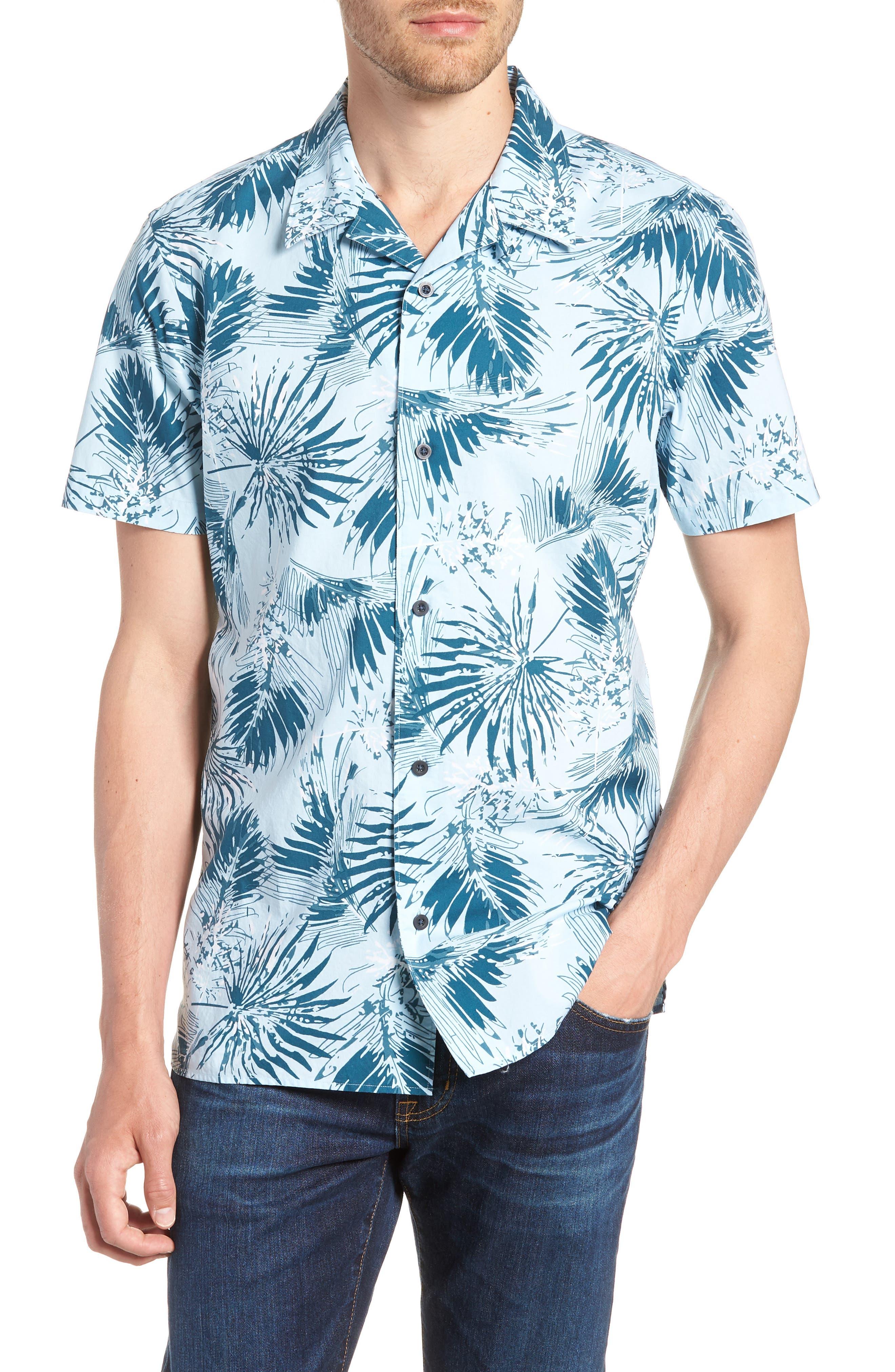 Trim Fit Palm Print Camp Shirt,                         Main,                         color, BLUE CLOUD FAN PALMS