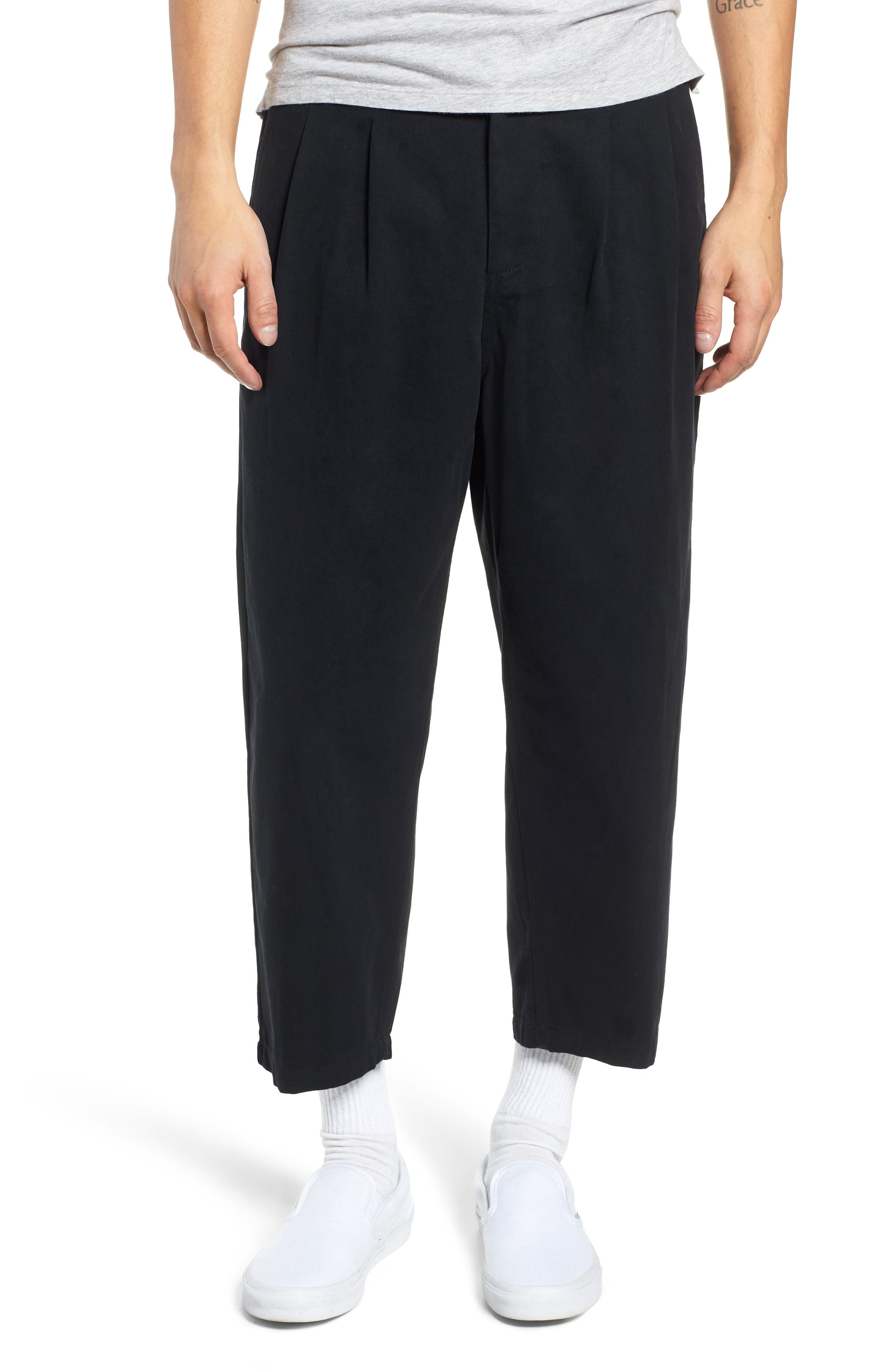 Fubar Pleated Relaxed Fit Pants,                         Main,                         color, BLACK