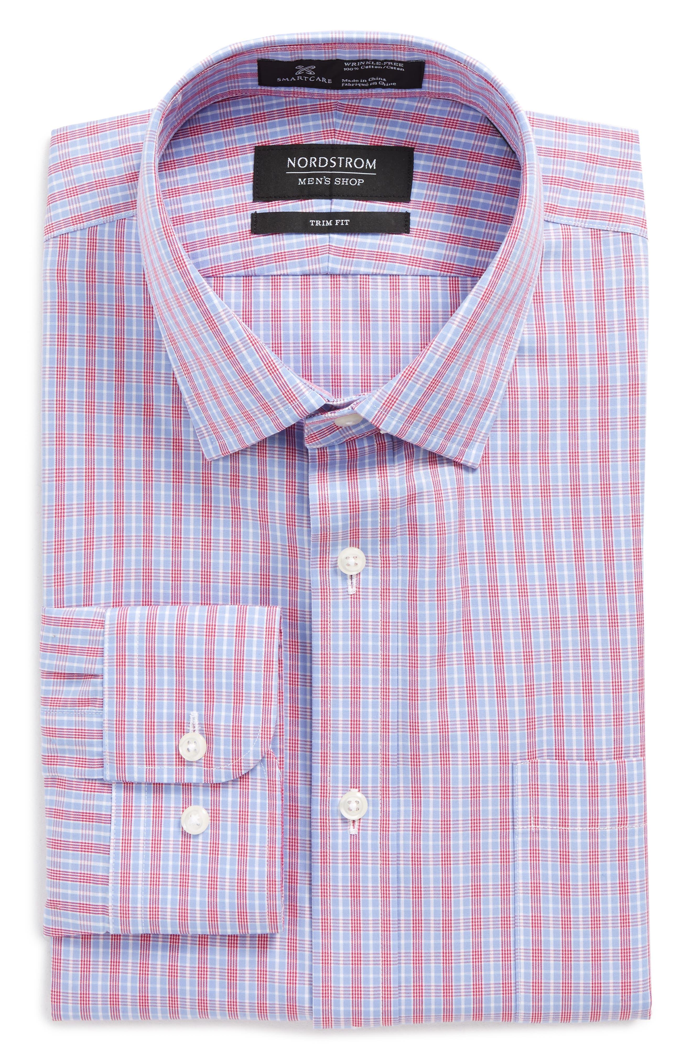 Smartcare<sup>™</sup> Trim Fit Check Dress Shirt,                         Main,                         color, 660