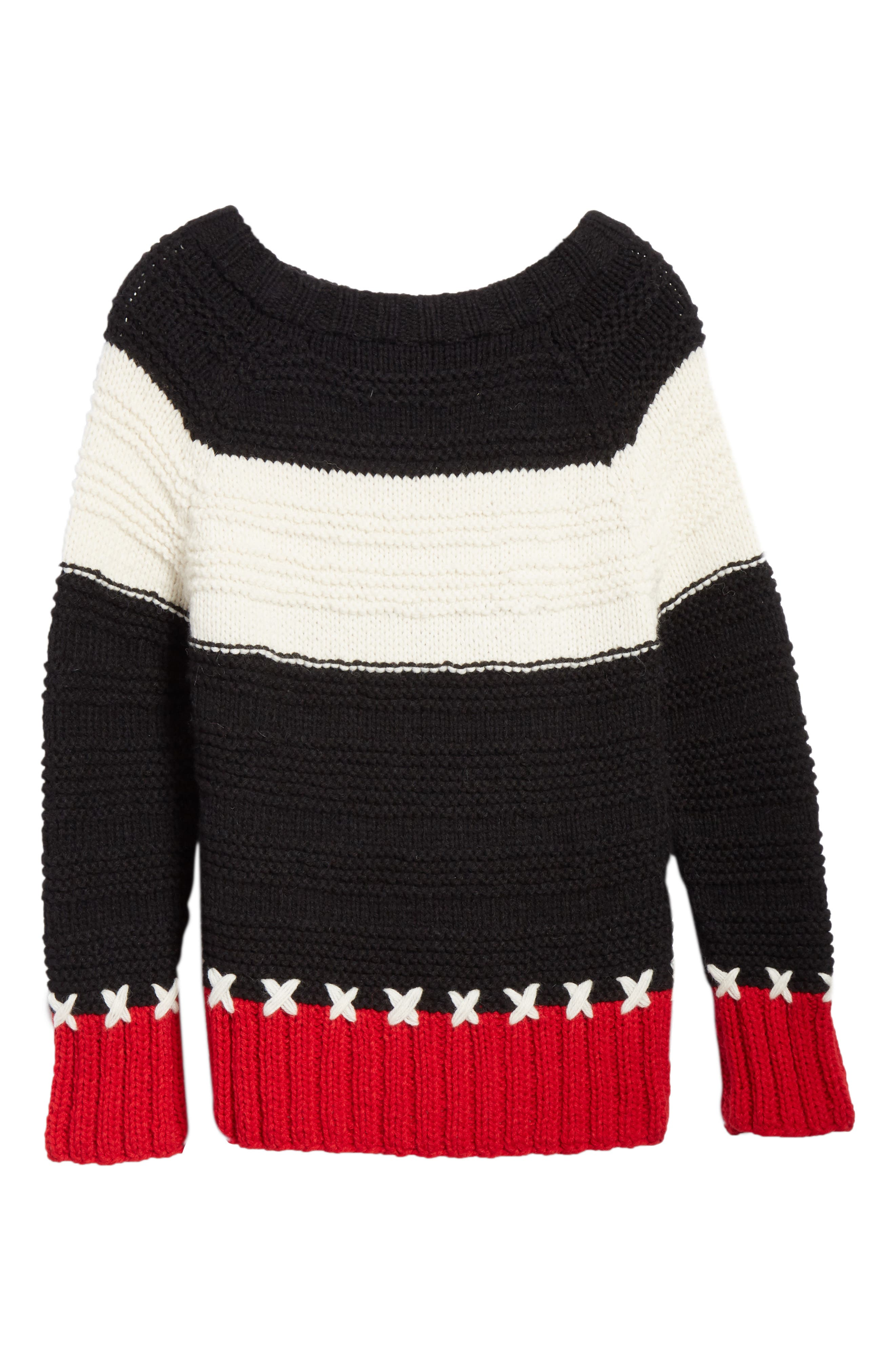 SMYTHE,                             Stripe Cross Stitched Alpaca Blend Sweater,                             Alternate thumbnail 6, color,                             001