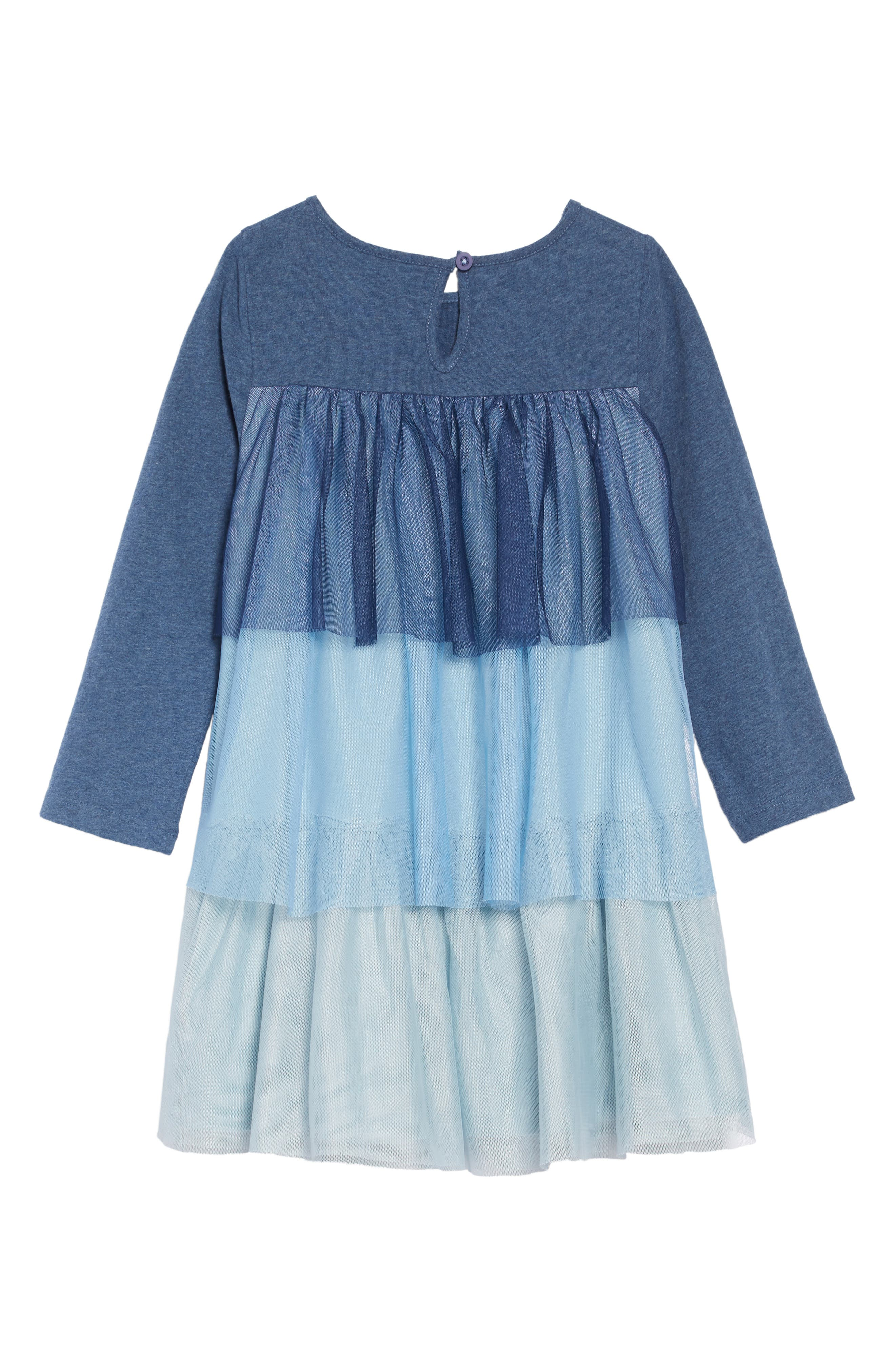 Jersey & Tulle Dress,                             Alternate thumbnail 2, color,                             SCHOOL NAVY OMBRE