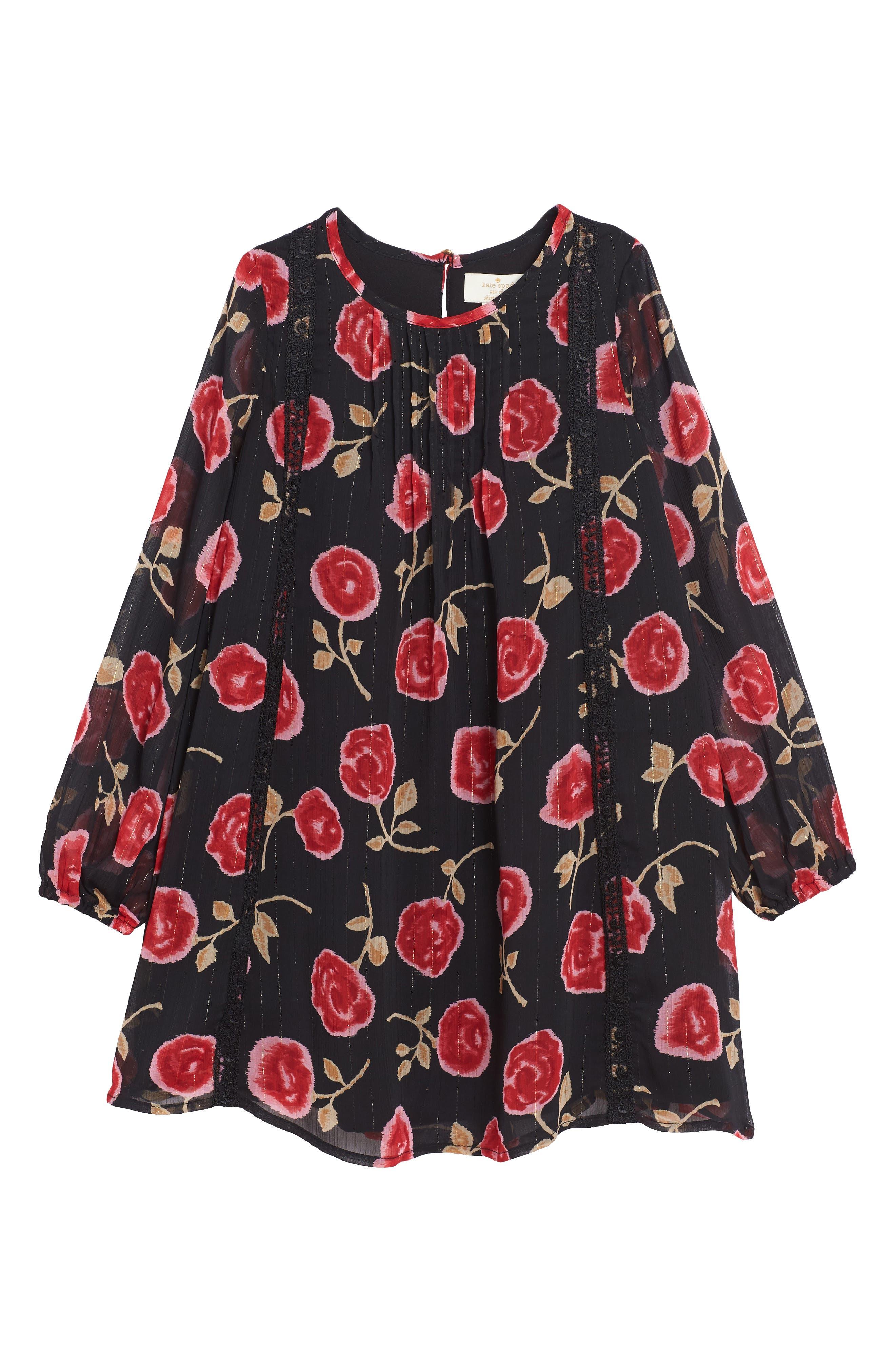 rose print chiffon dress,                             Main thumbnail 1, color,                             005