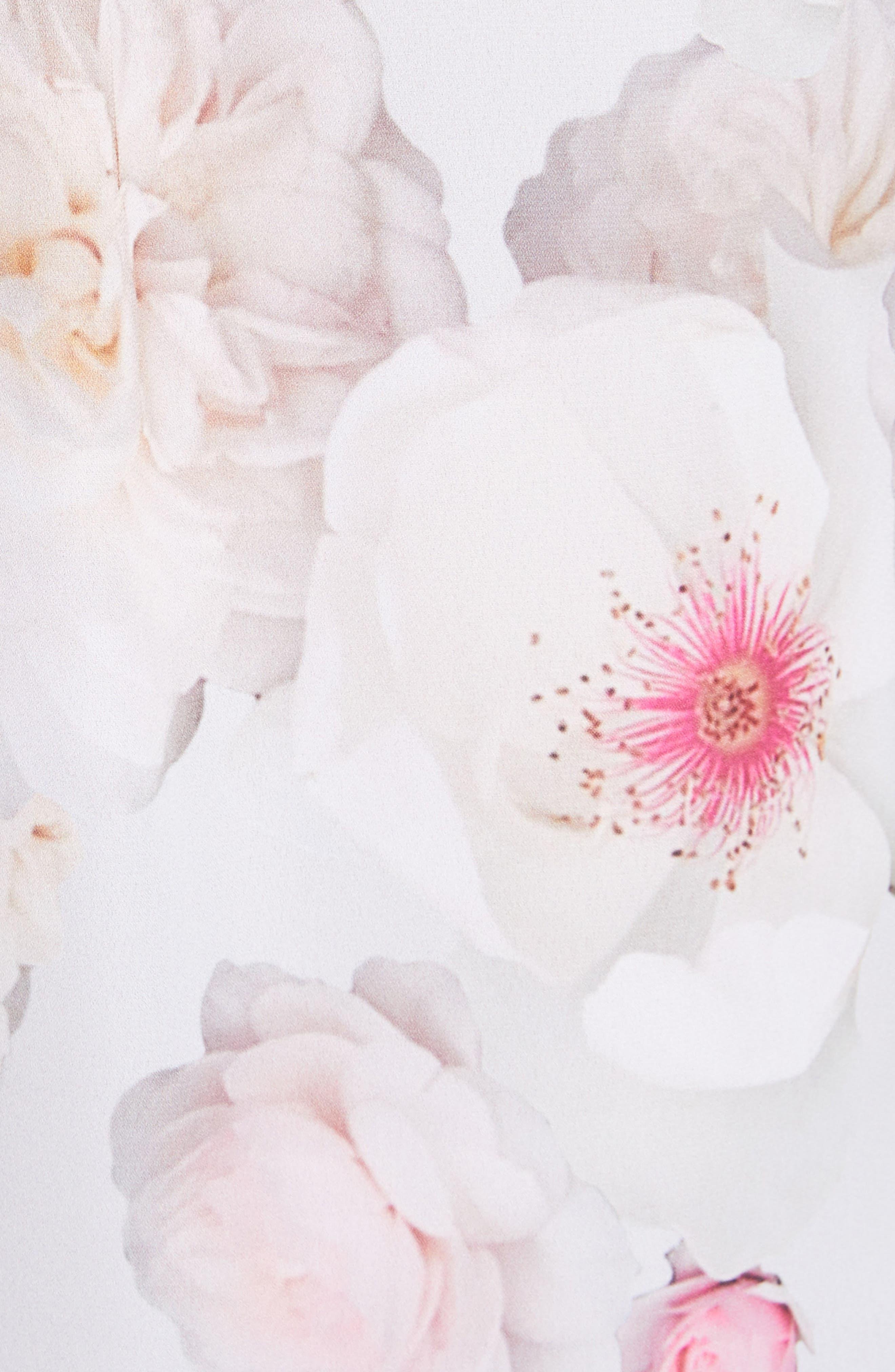 Relar Chelsea Grey Flower Print Shirt,                             Alternate thumbnail 5, color,                             021