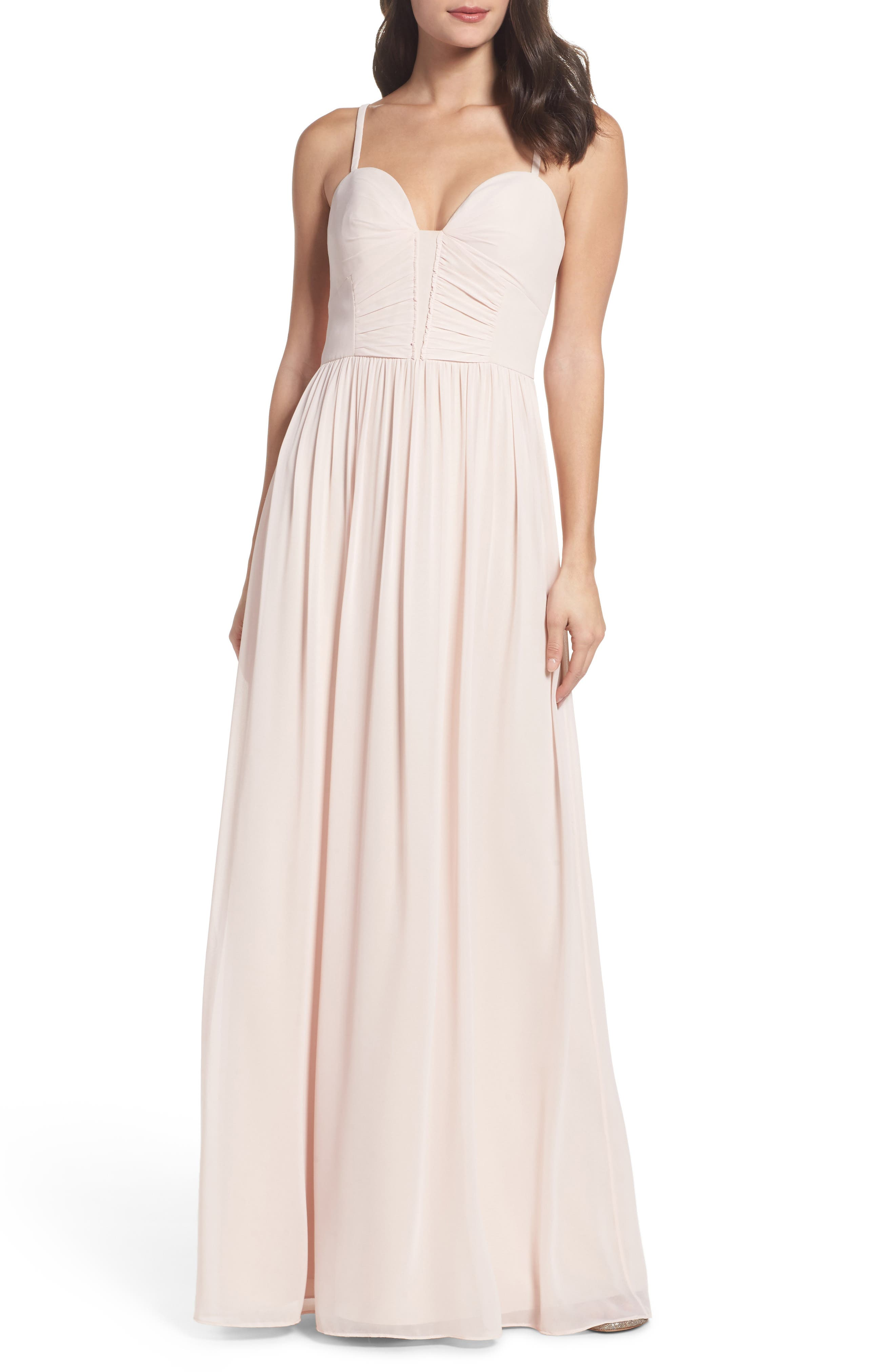 Ruffle Detail A-Line Chiffon Gown,                             Main thumbnail 1, color,                             DUSTY ROSE
