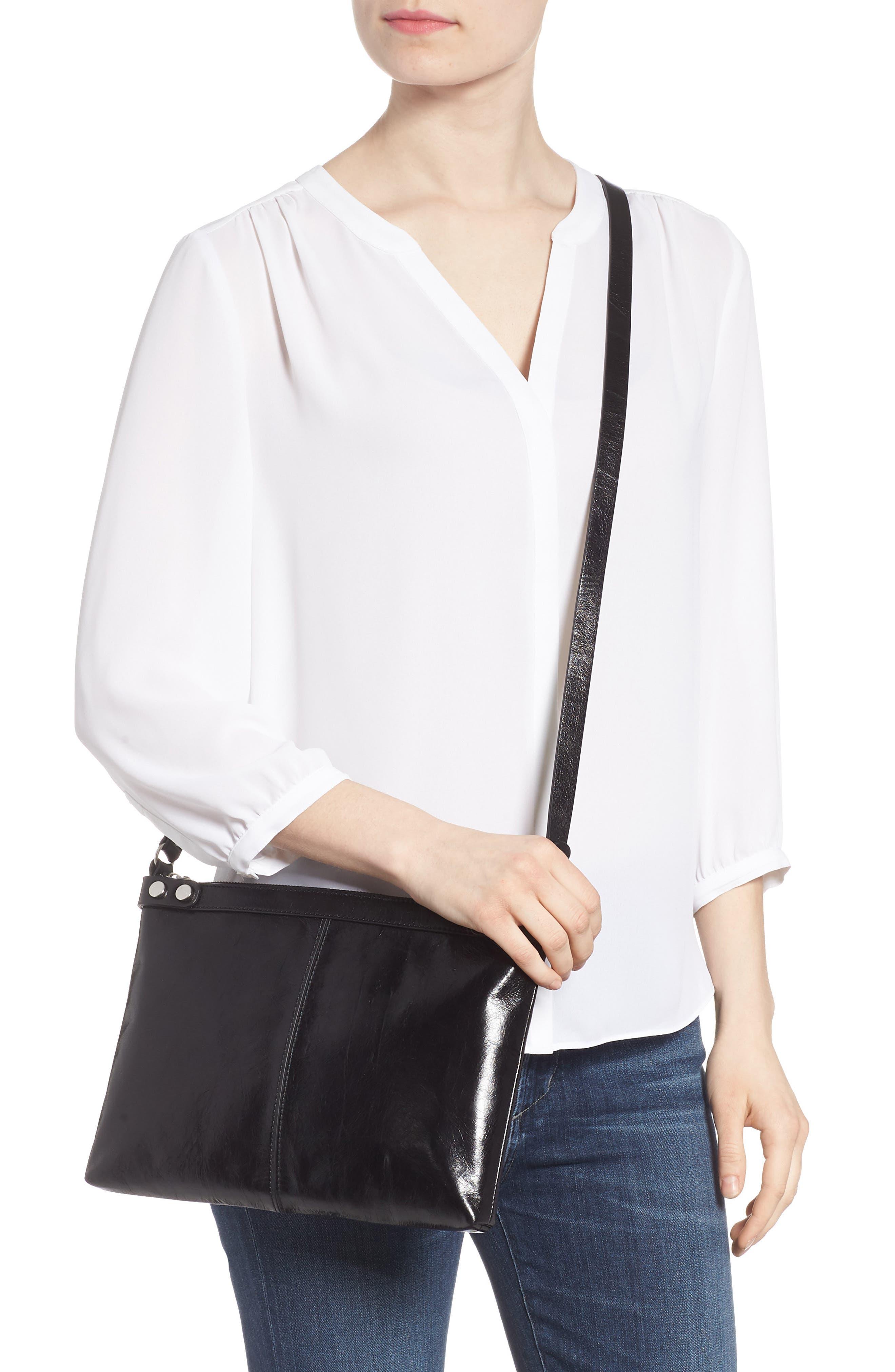 Marlow Glazed Leather Crossbody Bag,                             Alternate thumbnail 2, color,                             BLACK