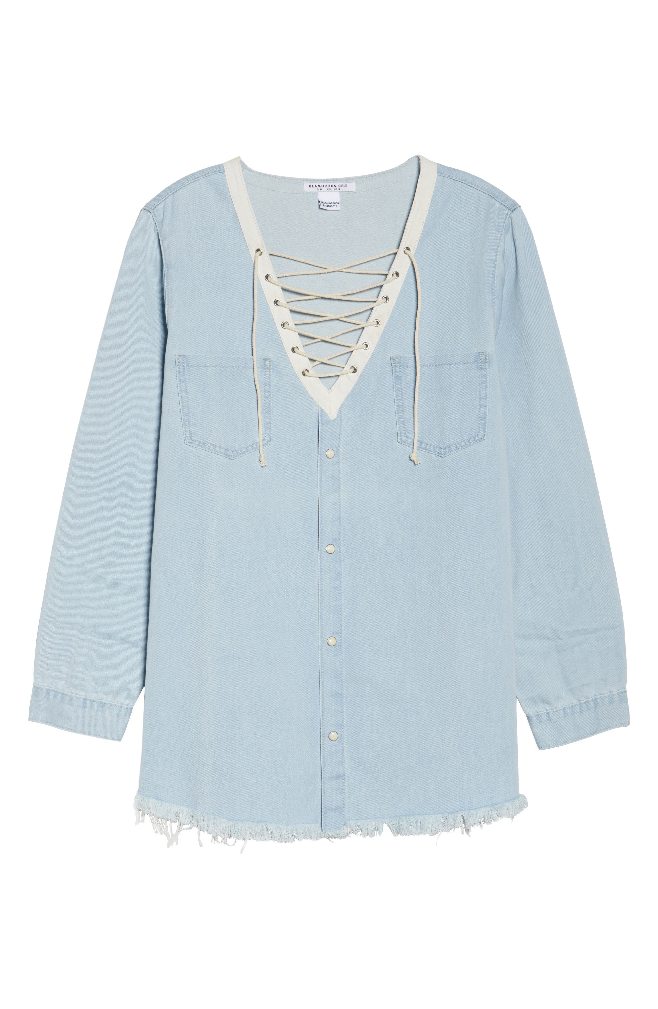 Lace-Up Chambray Top,                             Alternate thumbnail 6, color,                             400