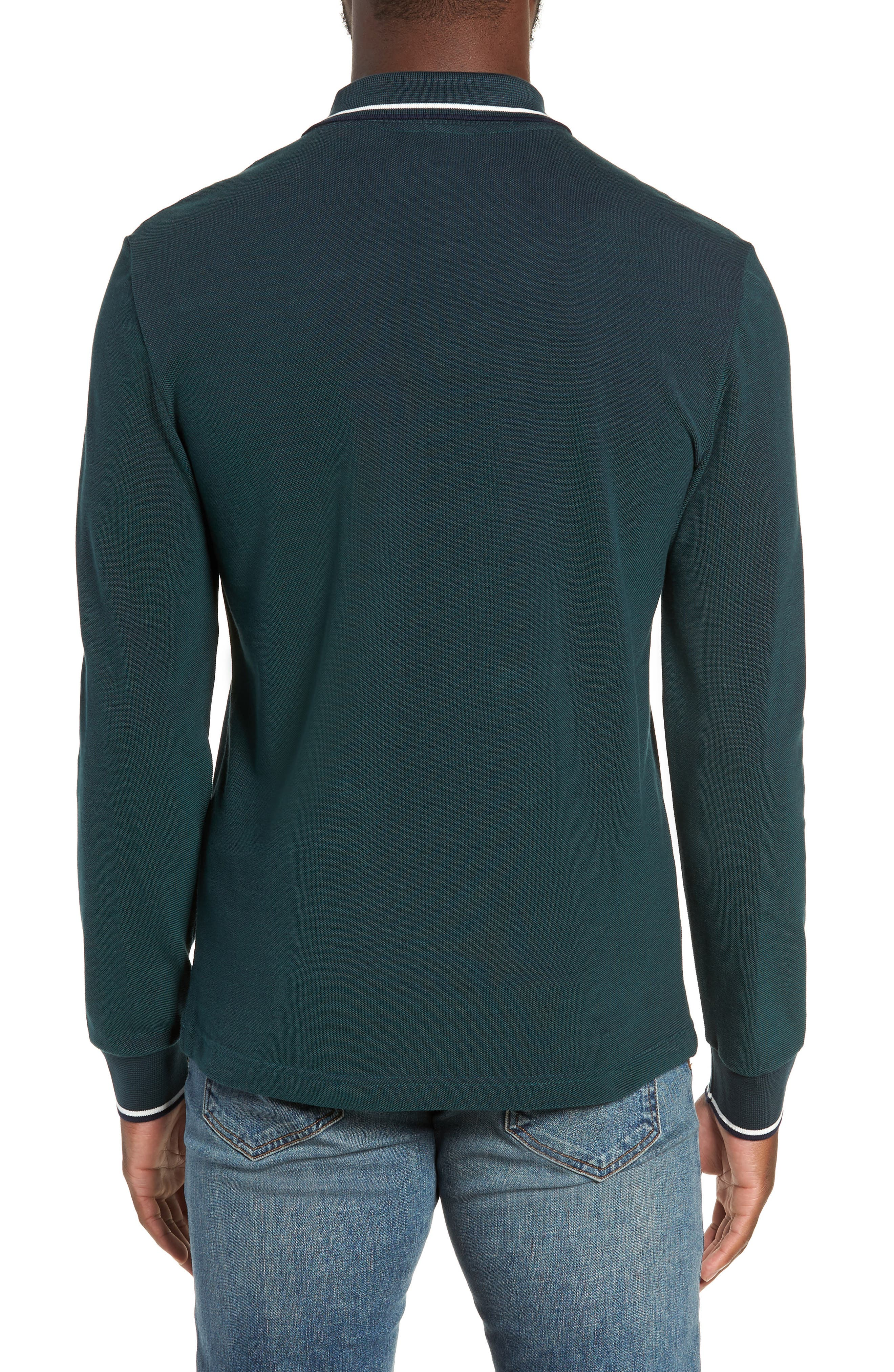 Slim Fit Long Sleeve Piqué Polo,                             Alternate thumbnail 2, color,                             ACONITE/ DARK NAVY BLUE