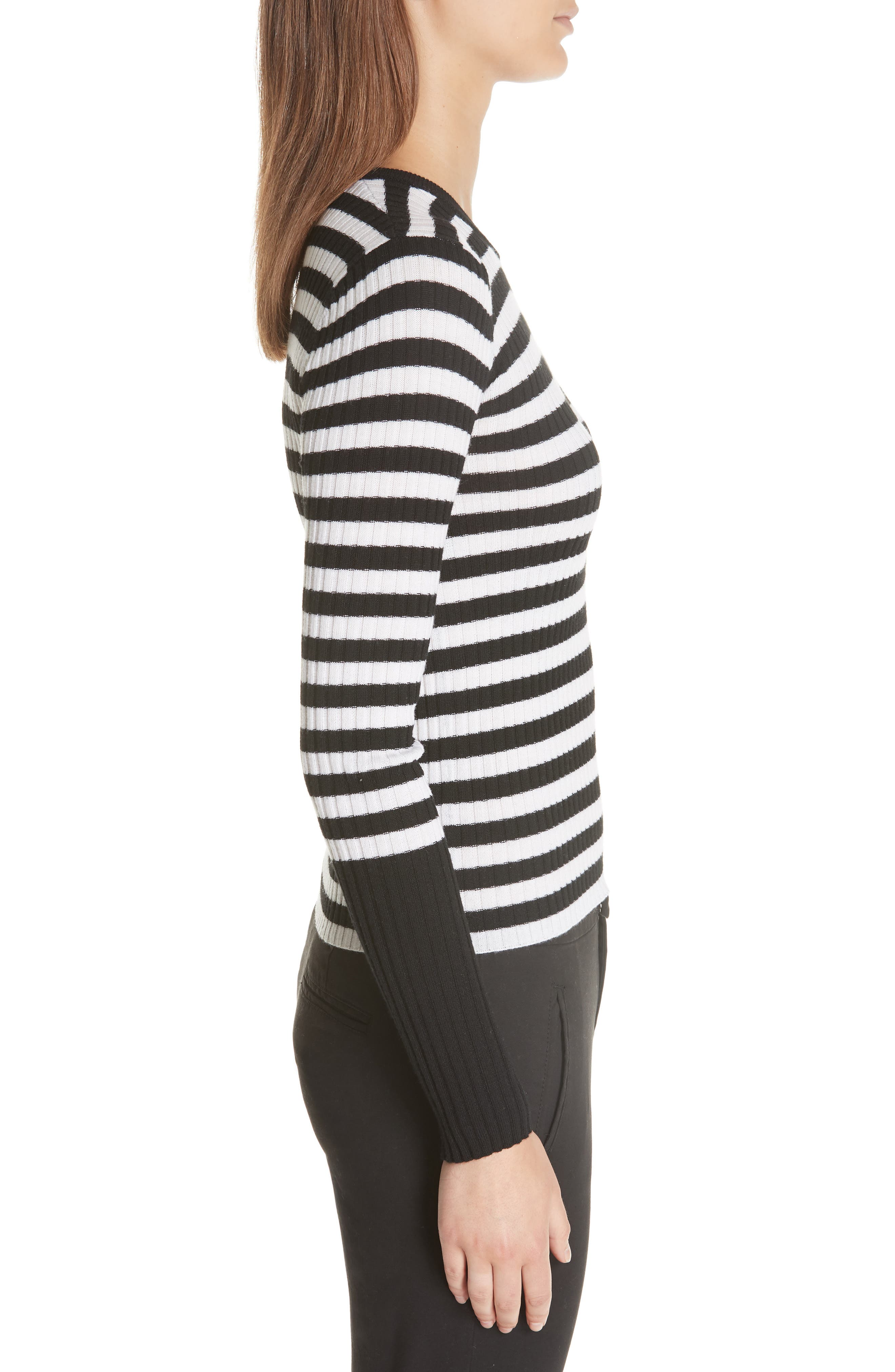Stripe Rib Merino Wool Sweater,                             Alternate thumbnail 3, color,                             BLACK/ WHITE STRIPE