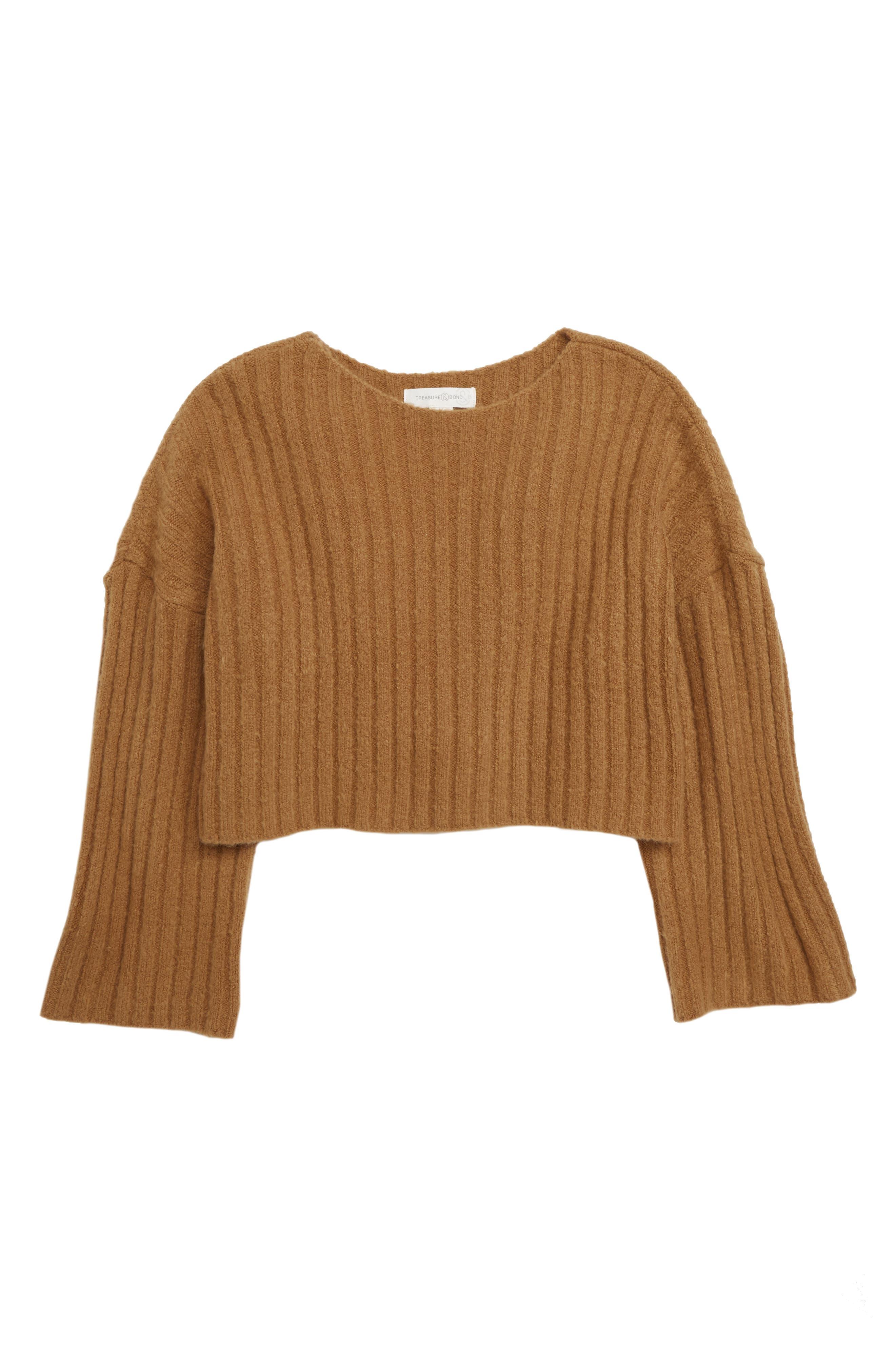 Crop Sweater, Main, color, BROWN DIJON
