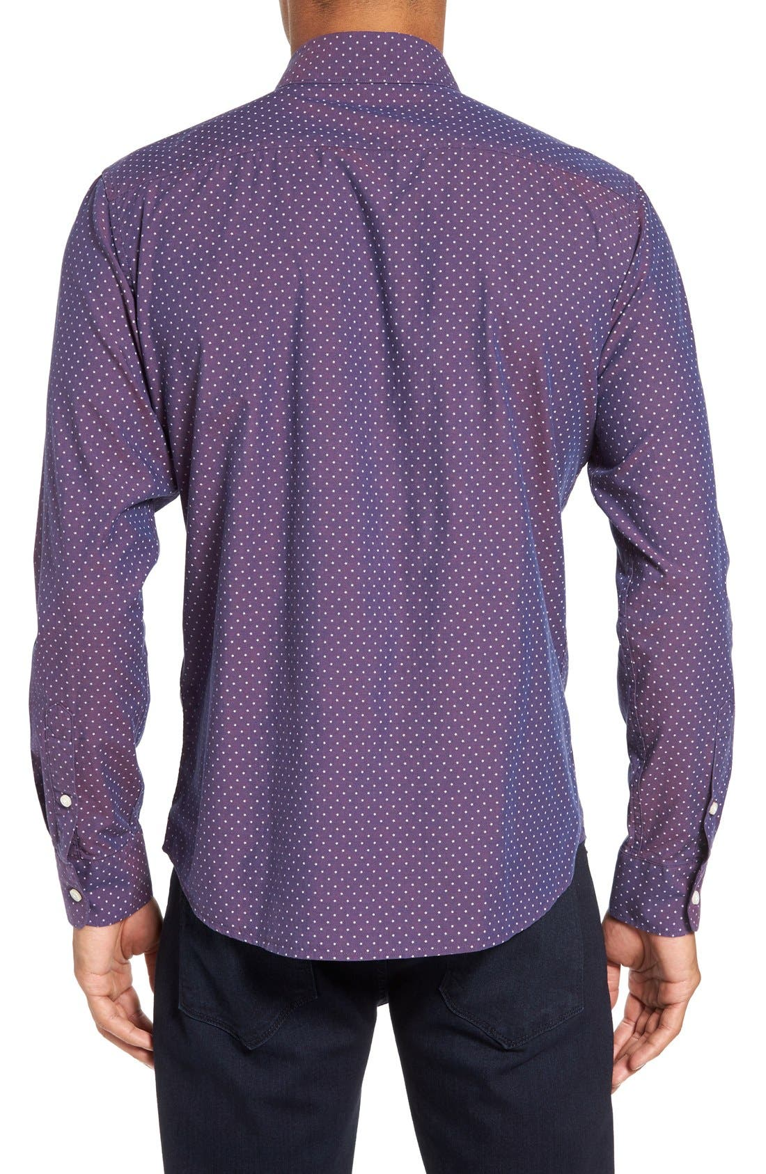 Slim Fit Star Print Sport Shirt,                             Alternate thumbnail 2, color,                             930