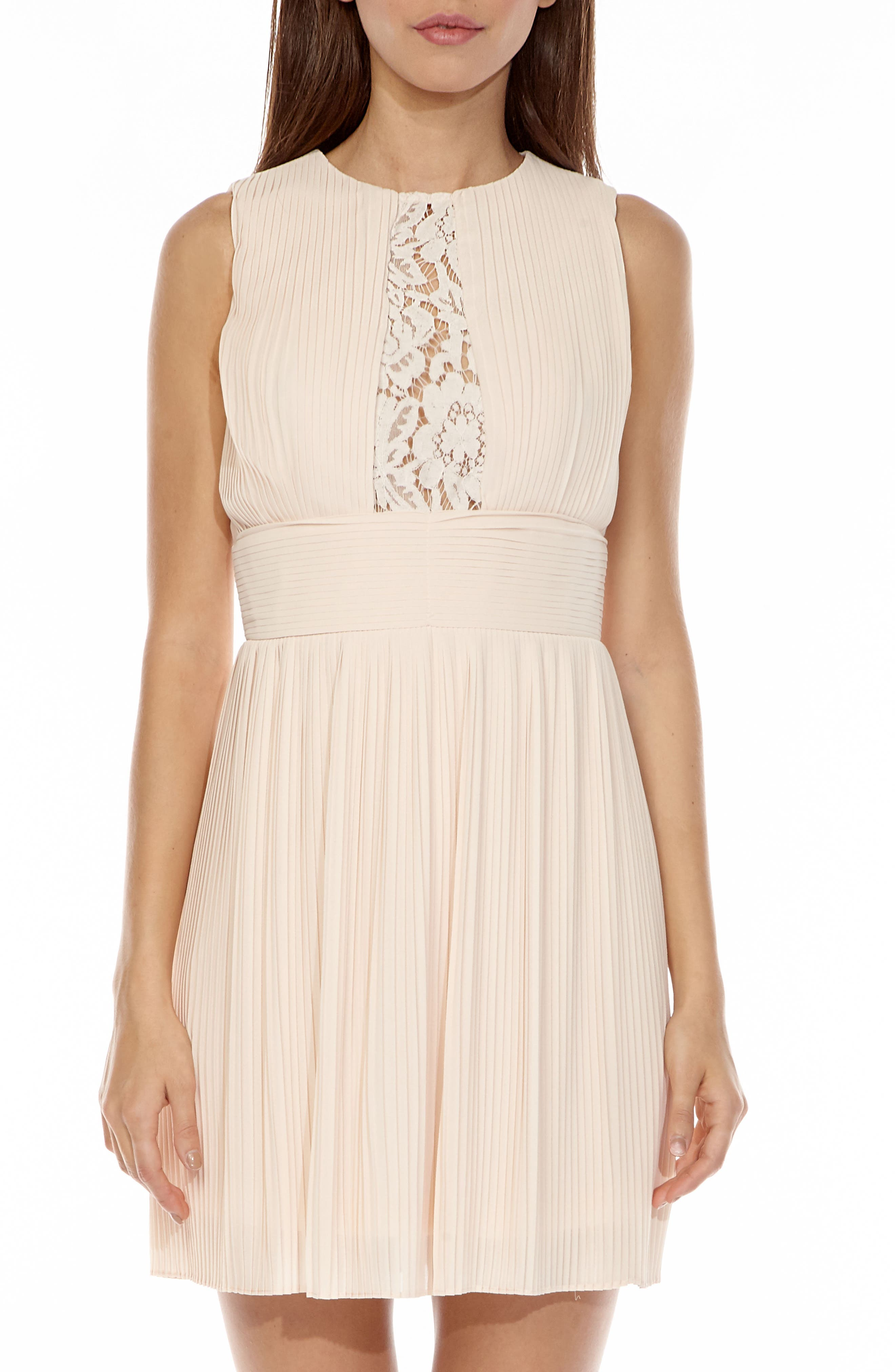 Dori Pleat Chiffon Fit & Flare Dress,                             Main thumbnail 1, color,                             680