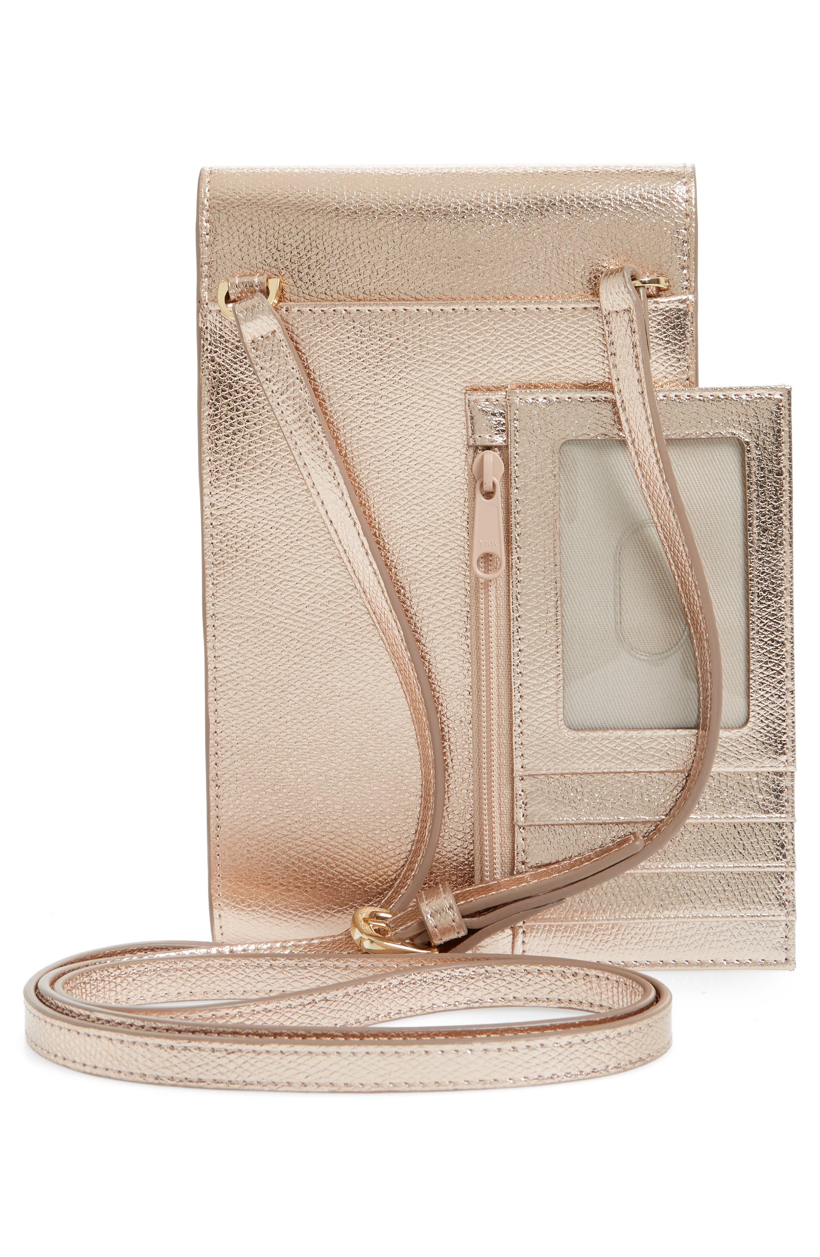 Metallic Leather Phone Crossbody Bag,                             Alternate thumbnail 3, color,                             220
