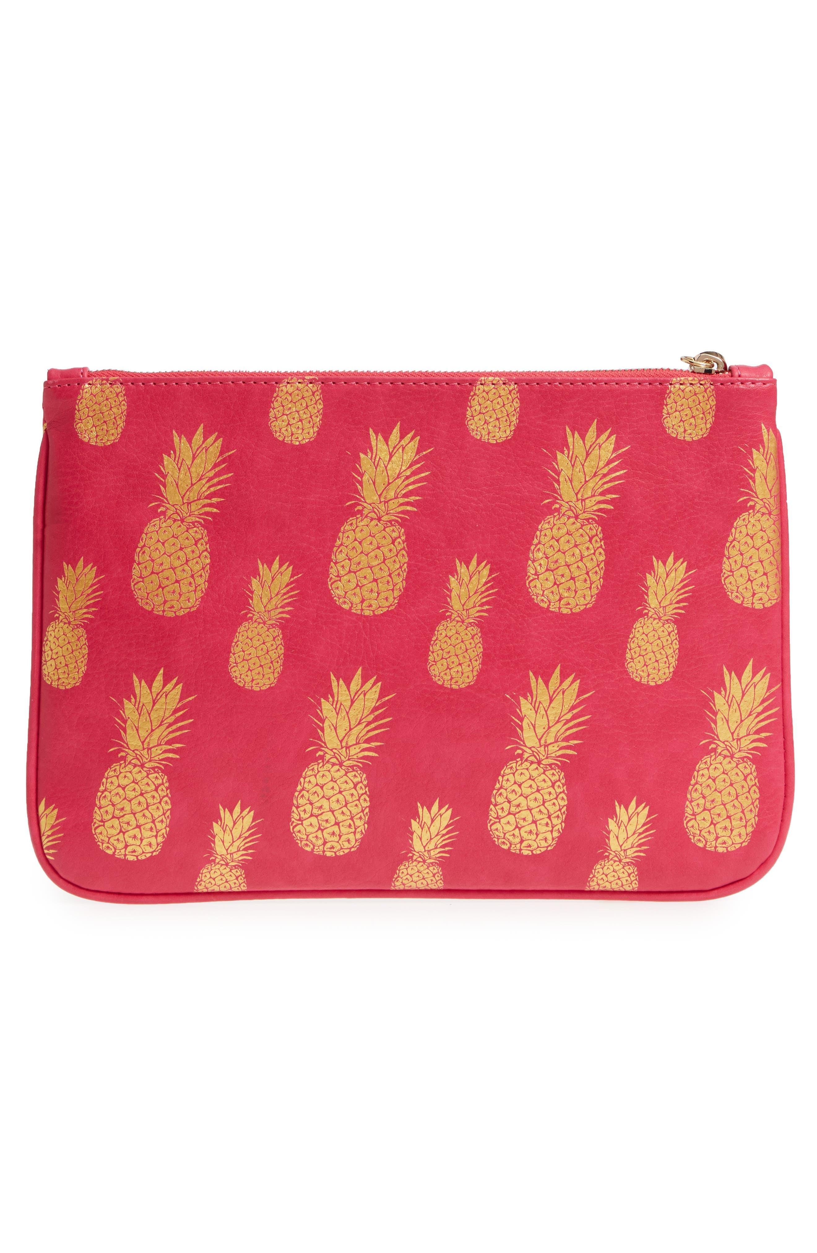 Mali + Lili Alice Pineapple Print Vegan Leather Clutch,                             Alternate thumbnail 3, color,                             HOT PINK