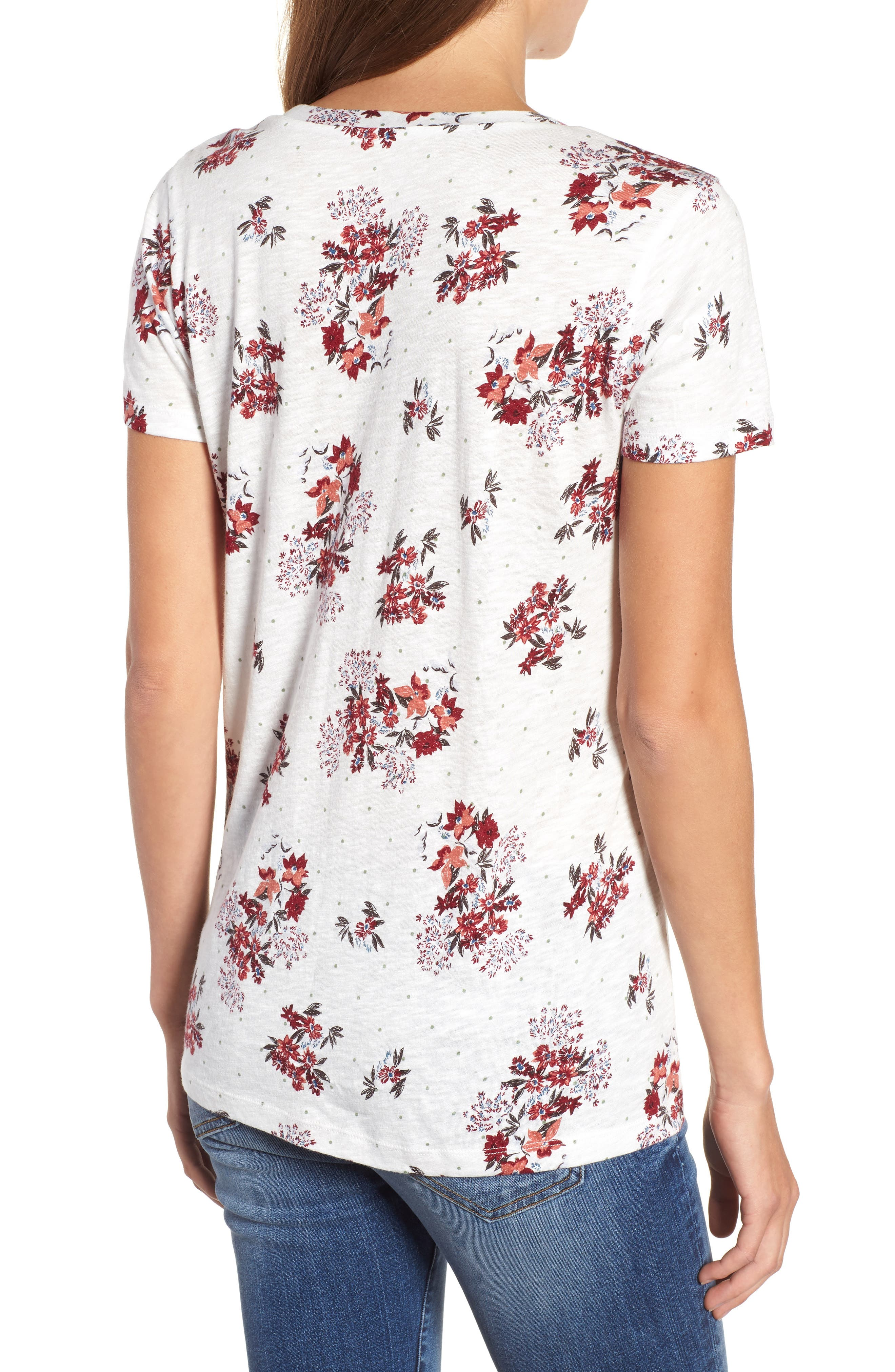 Rounded V-Neck Tee,                             Alternate thumbnail 2, color,                             IVORY SKETCHED FLORAL