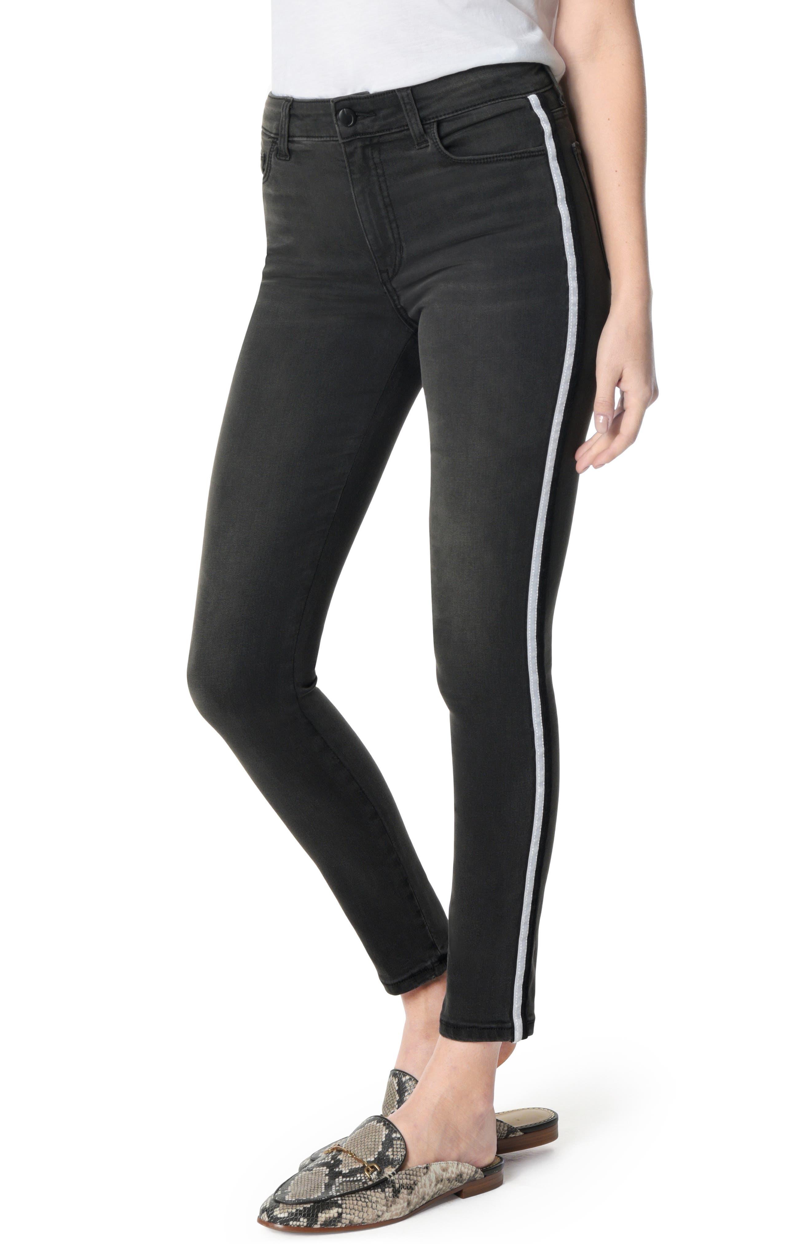 JOE'S,                             Charlie Velvet Stripe Ankle Skinny Jeans,                             Main thumbnail 1, color,                             002