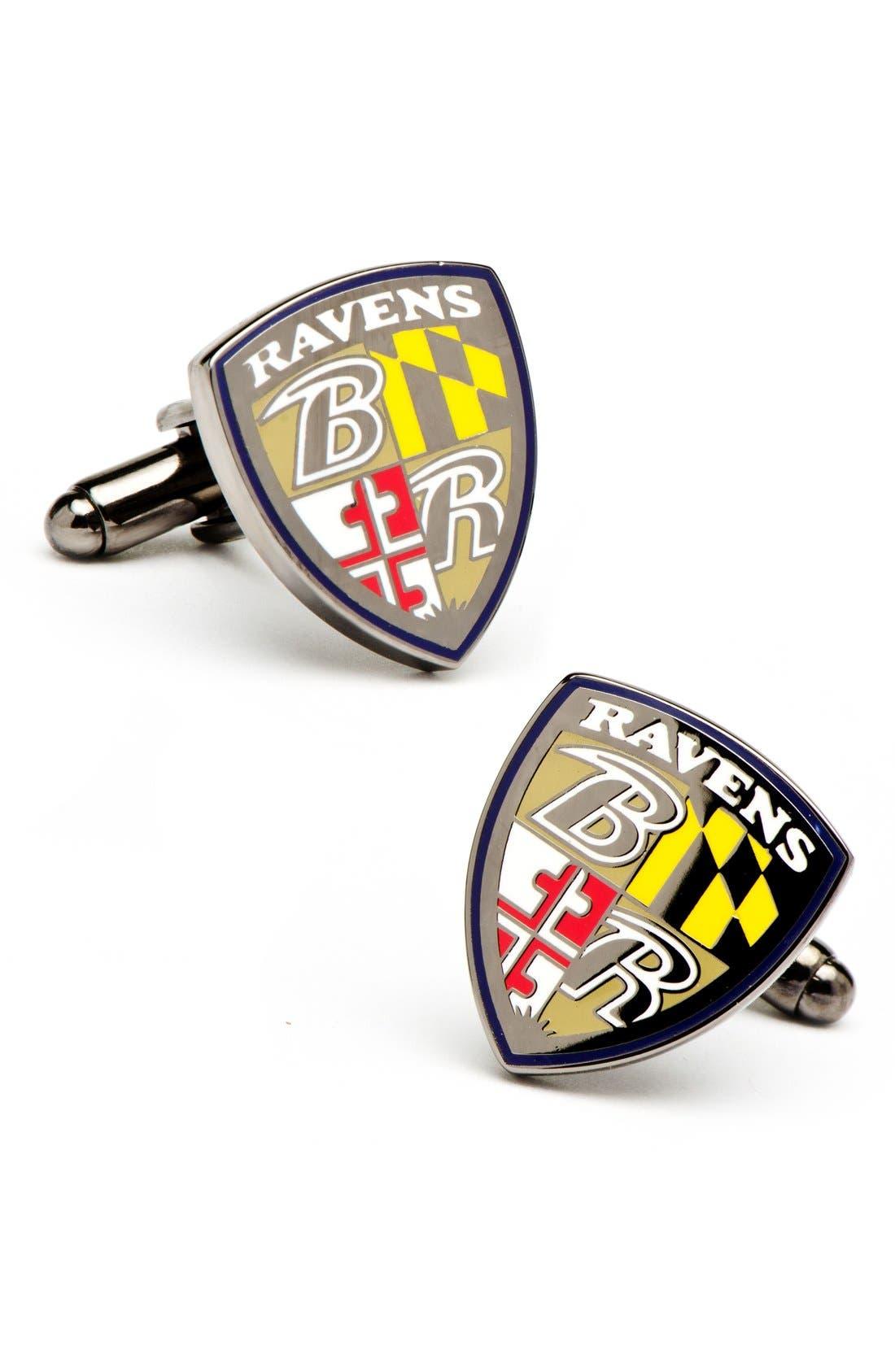'Baltimore Ravens' Cuff Links,                             Main thumbnail 1, color,                             020