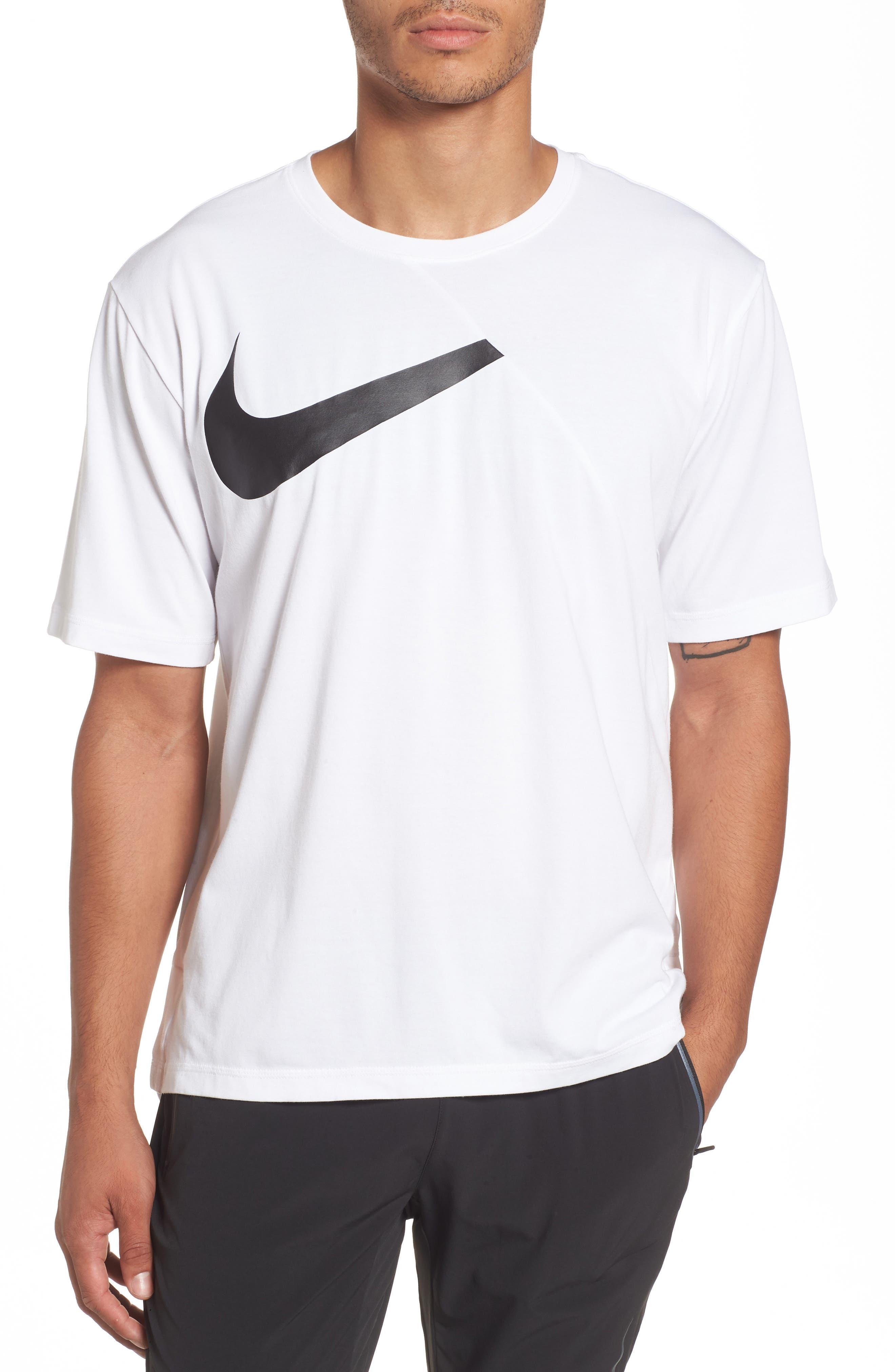 NIKE,                             Dry Performance T-Shirt,                             Main thumbnail 1, color,                             WHITE/ BLACK