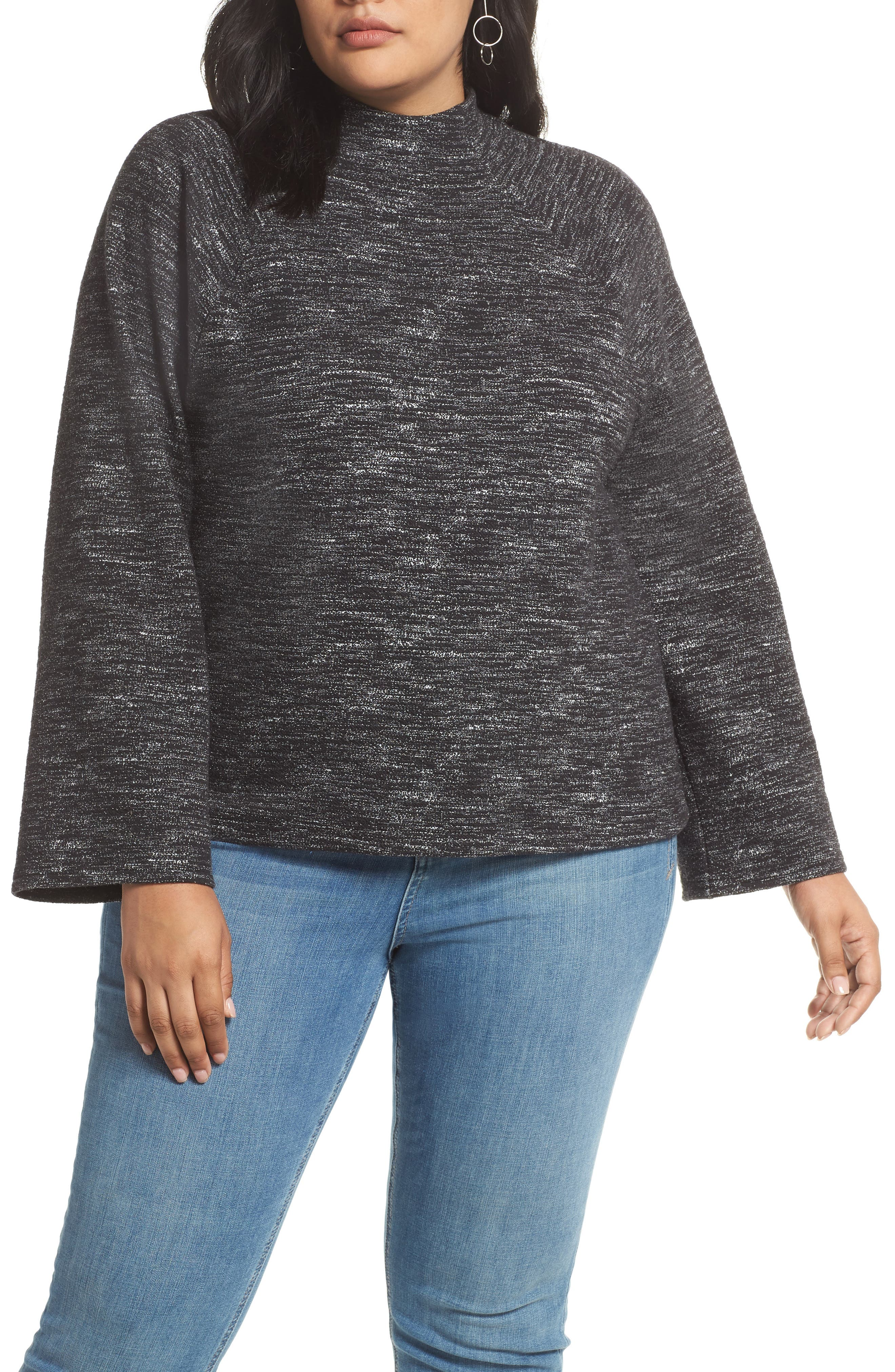 Bell Sleeve Ponte Top,                             Main thumbnail 1, color,                             001