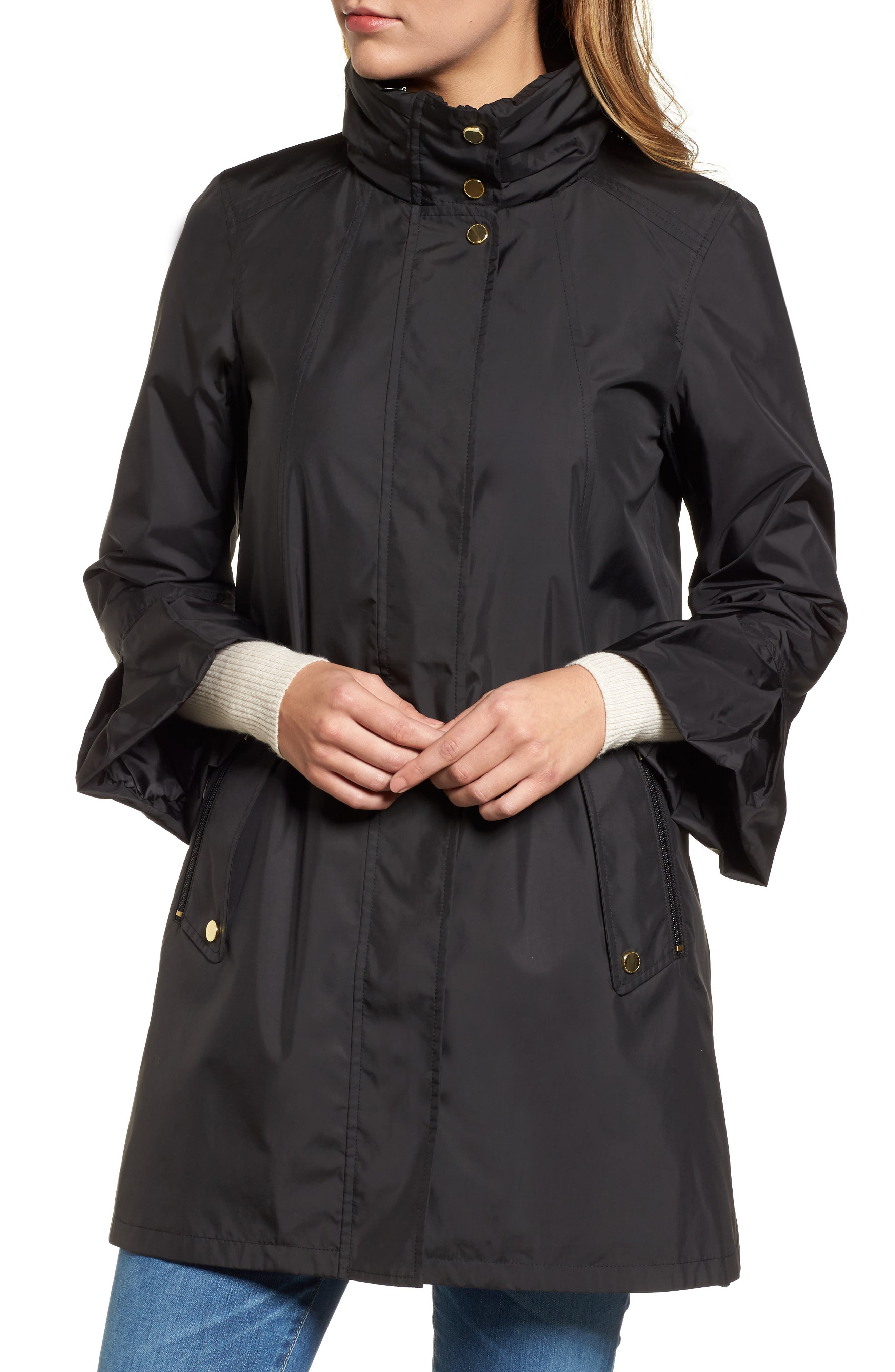 Flare Sleeve Packable Swing Jacket,                             Alternate thumbnail 4, color,                             001