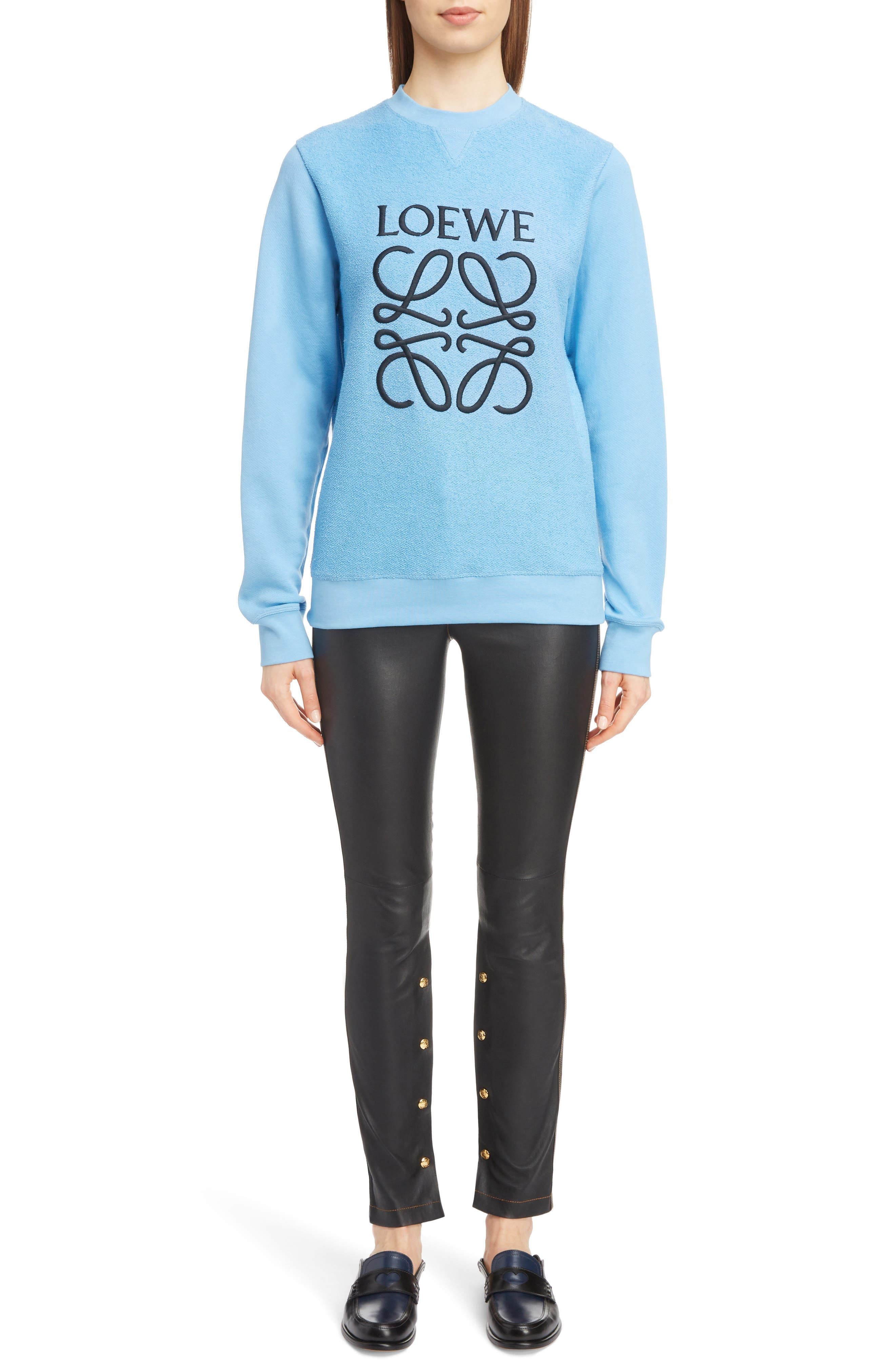 Terry Bodice Logo Sweatshirt,                             Alternate thumbnail 6, color,                             LIGHT BLUE