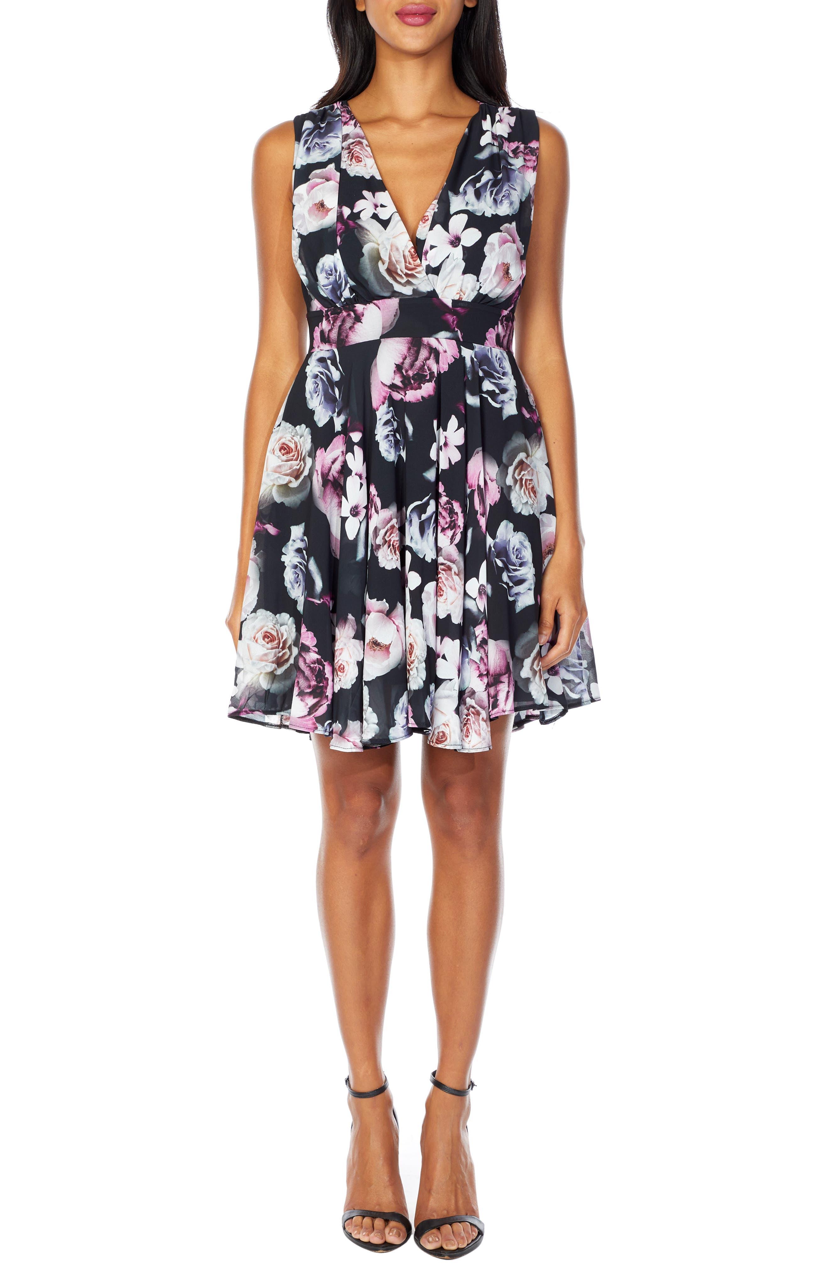 V-Neck Fit & Flare Dress,                         Main,                         color, BLACK