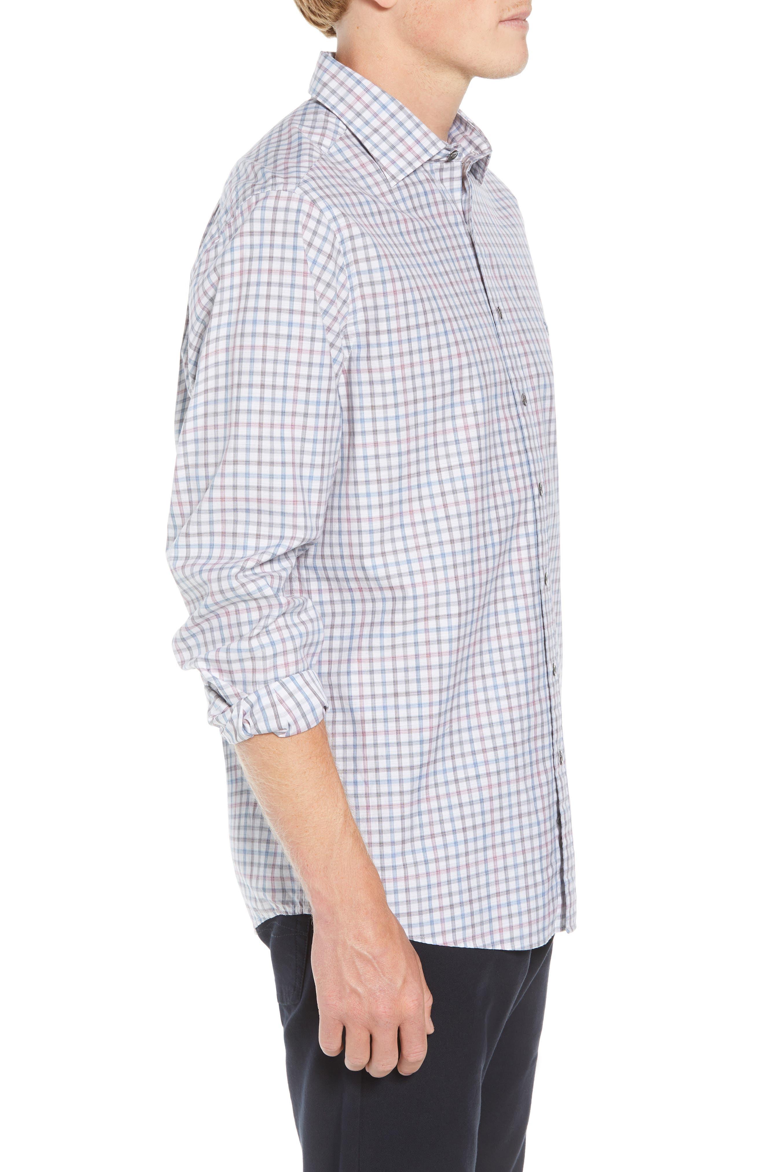 Port Hutt Regular Fit Check Sport Shirt,                             Alternate thumbnail 4, color,                             OYSTER