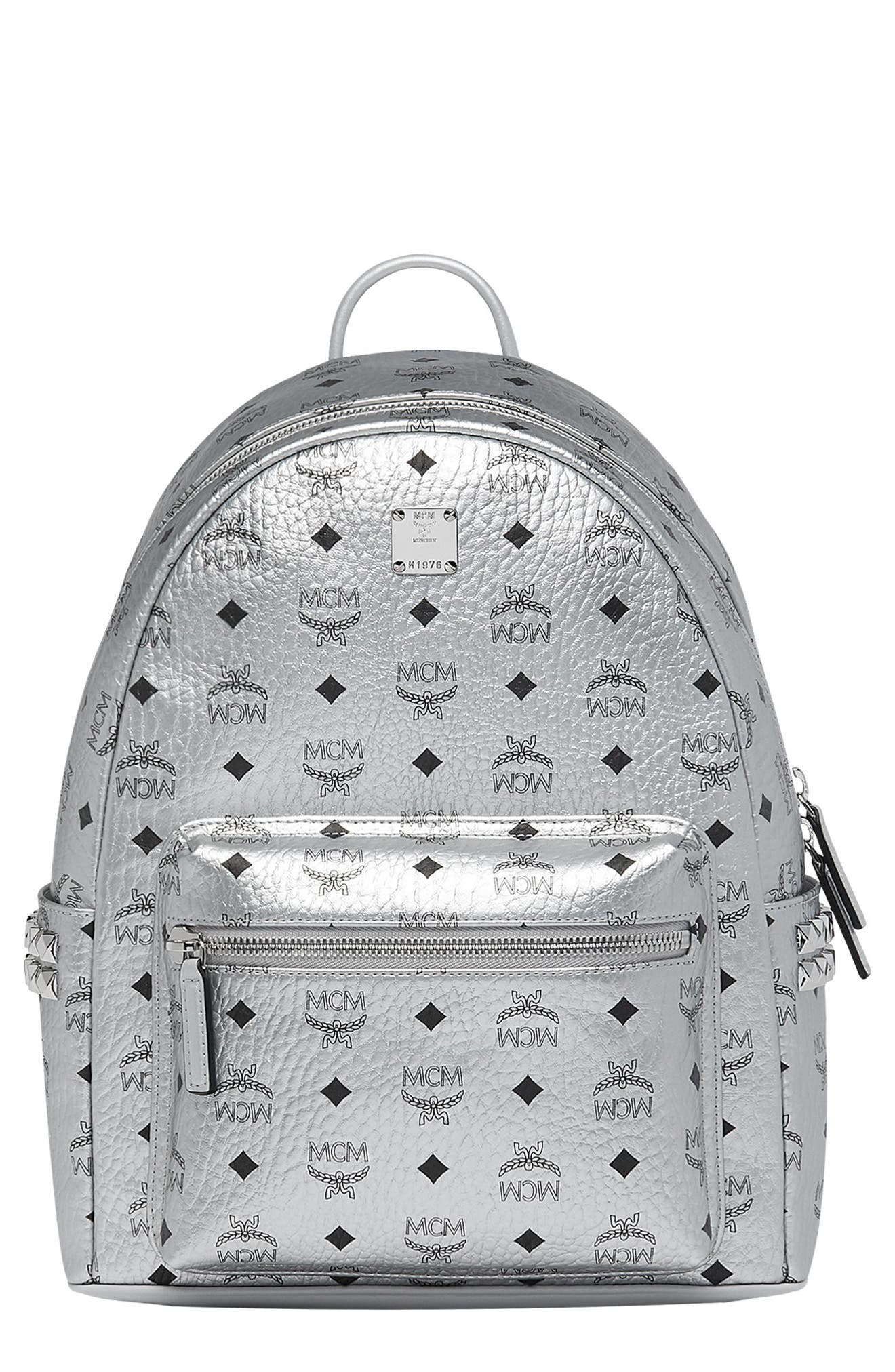 Small Stark Side Stud Metallic Faux Leather Backpack, Main, color, BERLIN SILVER