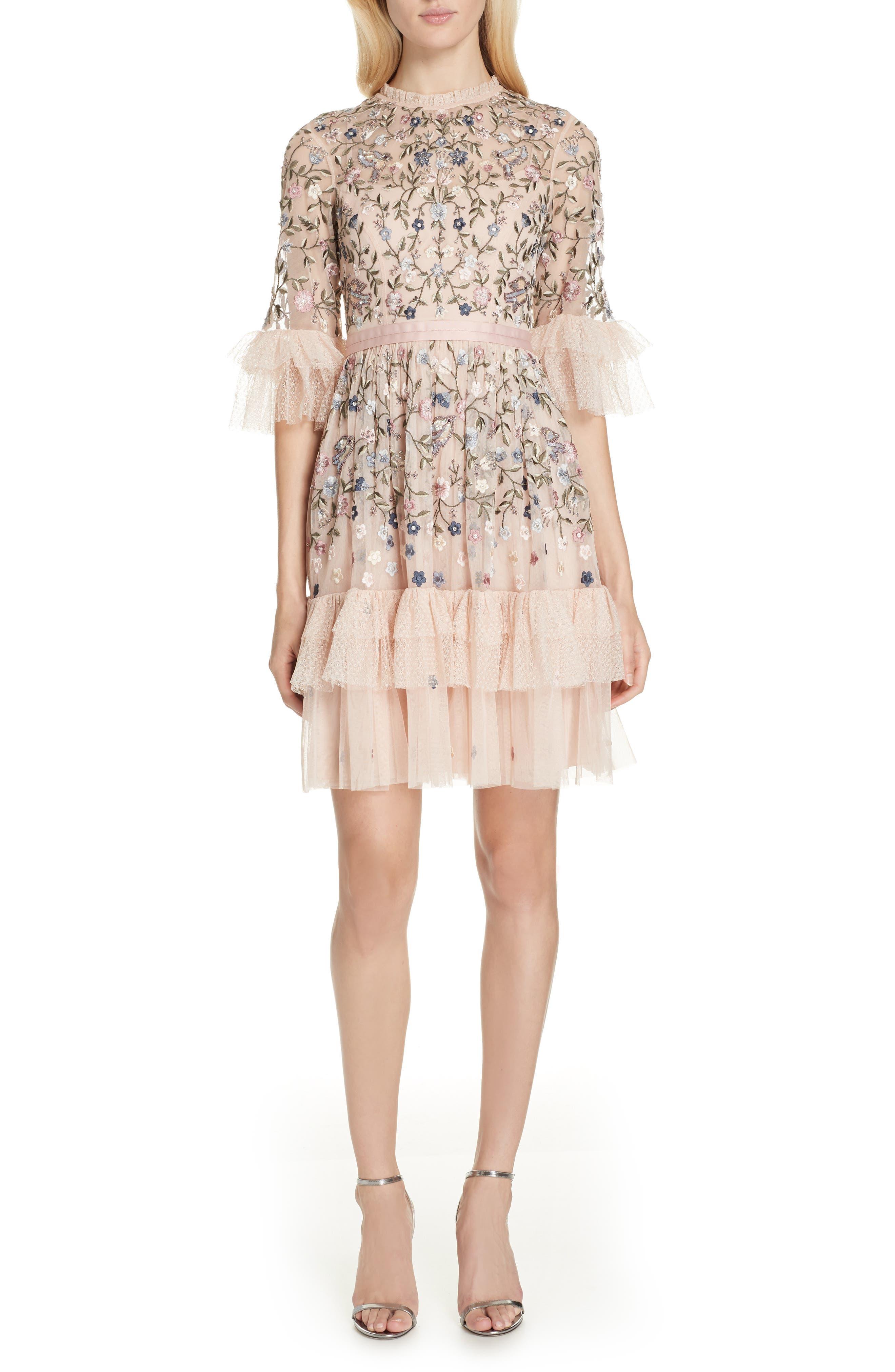 Dusk Floral A-Line Dress,                             Main thumbnail 1, color,                             ROSE QUARTZ