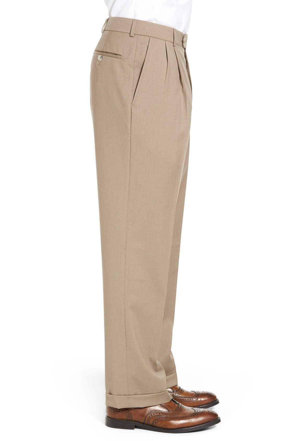 Pleated Solid Wool Trousers,                             Alternate thumbnail 36, color,