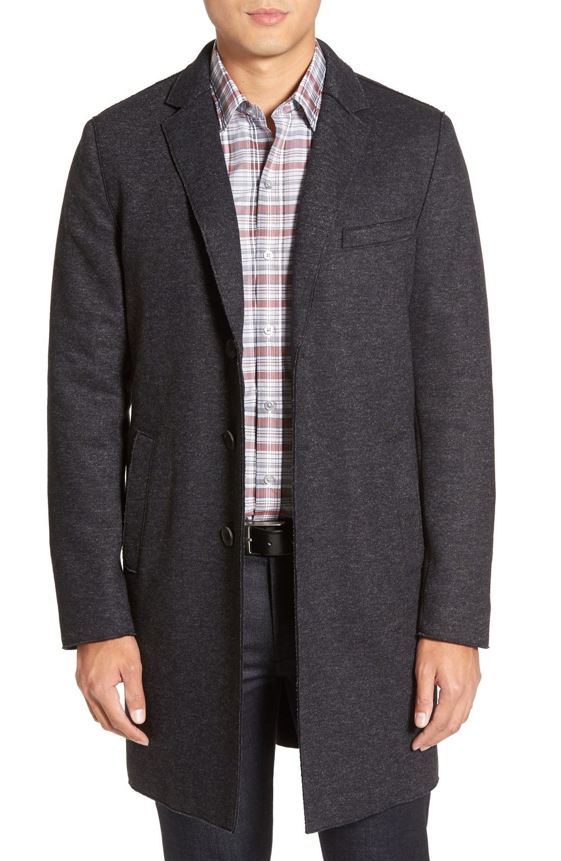 BOSS 'Shawn' Wool Blend Overcoat,                             Main thumbnail 1, color,                             402