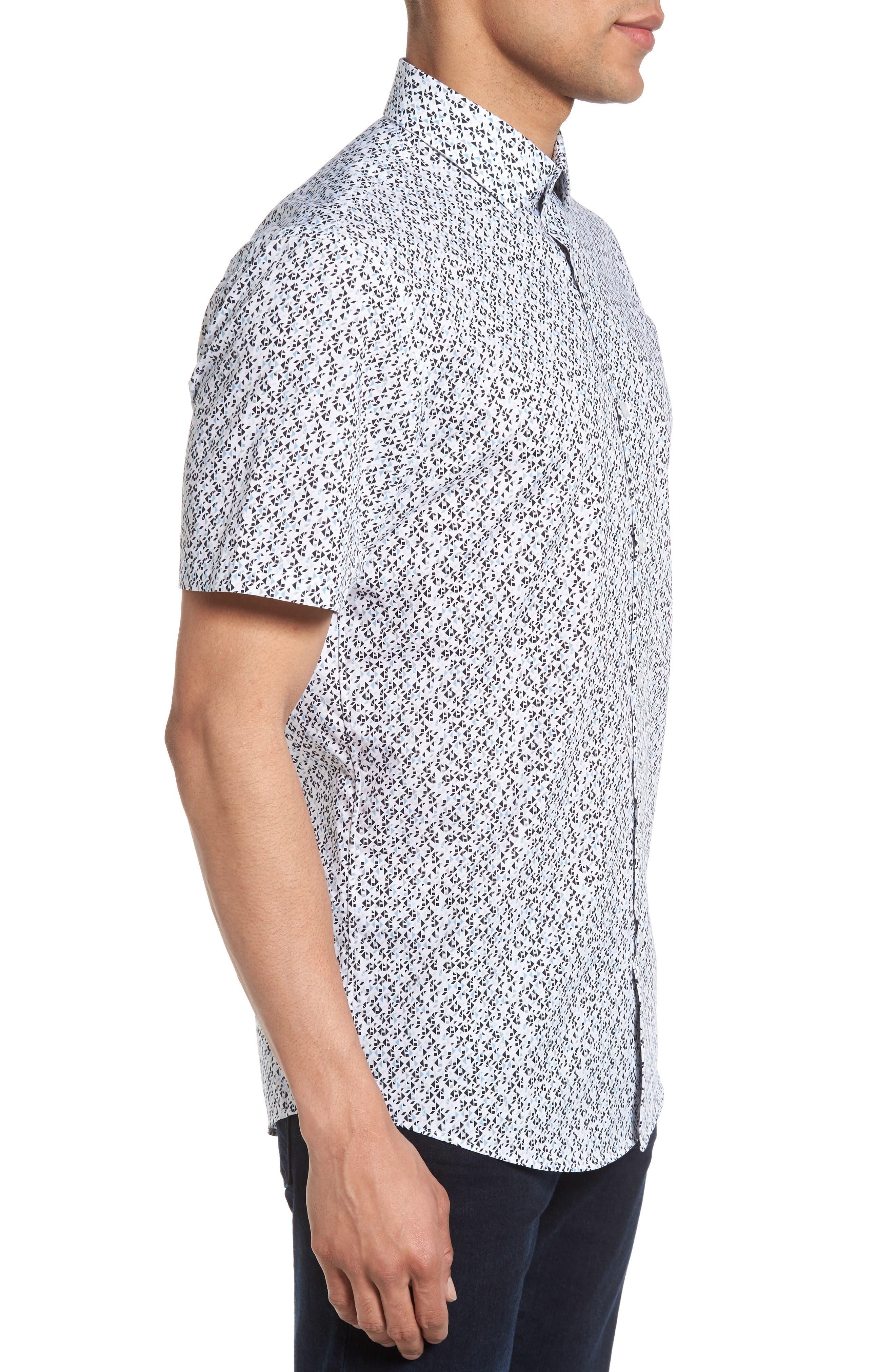 No-Iron Geo Print Woven Shirt,                             Alternate thumbnail 3, color,                             030