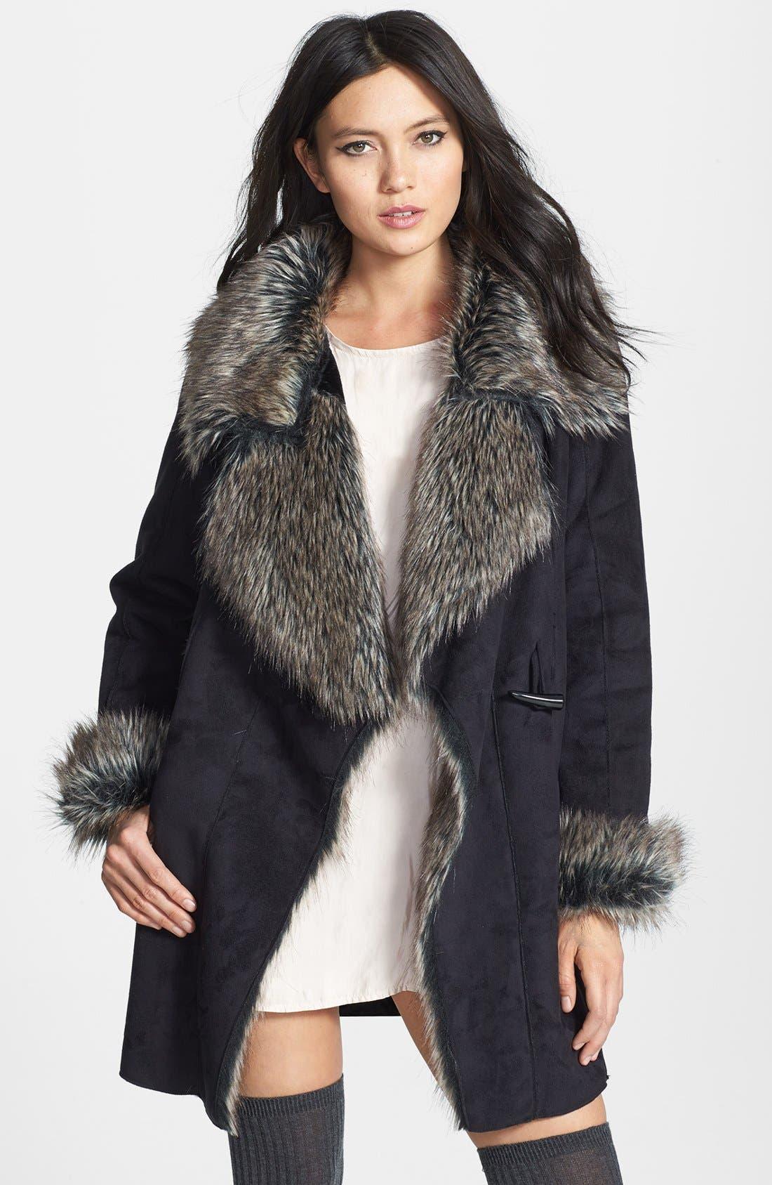 Faux Fur Trim Faux Suede Jacket,                             Main thumbnail 1, color,                             001