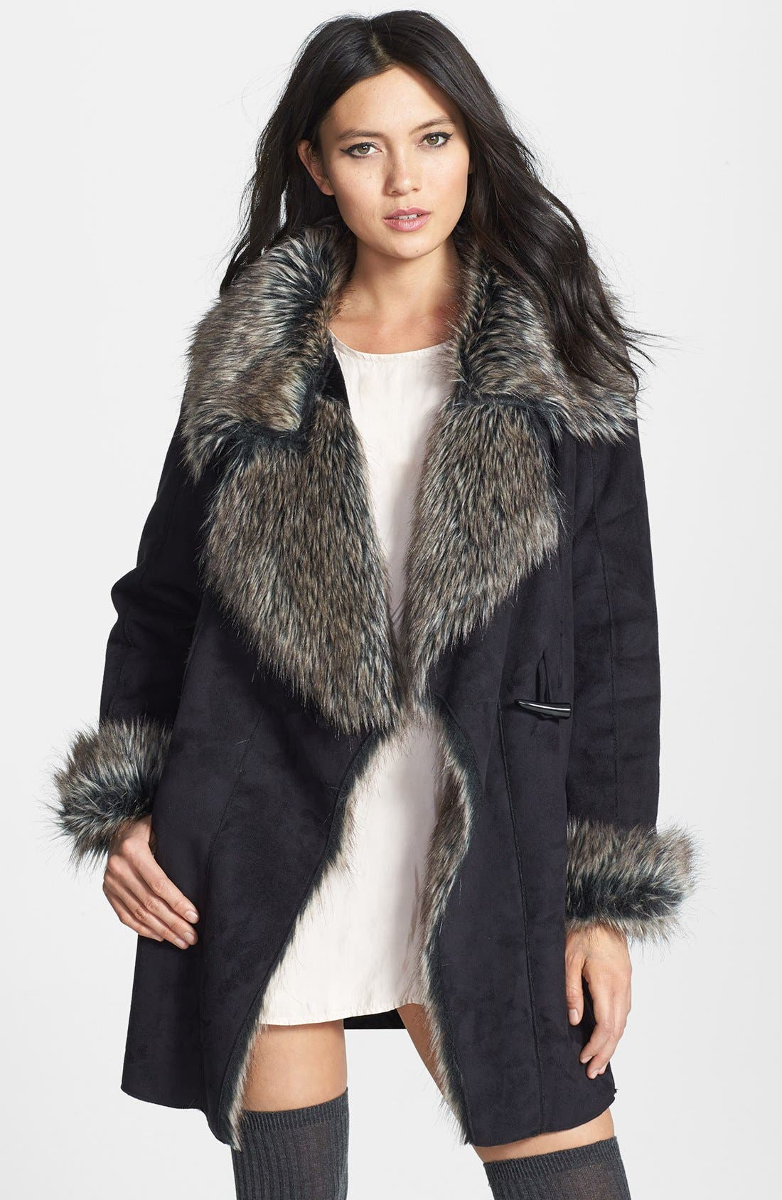 Faux Fur Trim Faux Suede Jacket,                         Main,                         color, 001