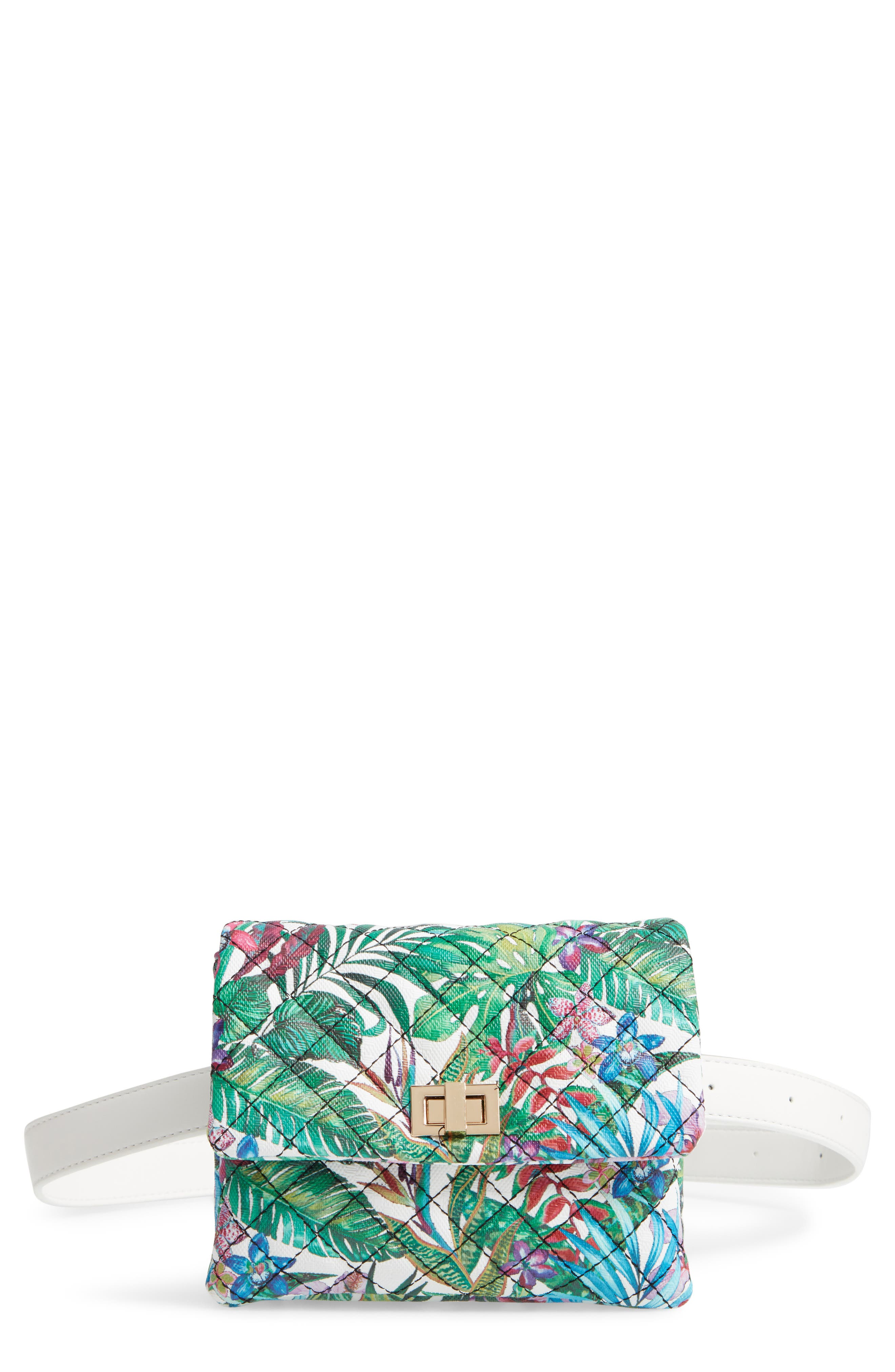 MALI + LILI Quilted Vegan Leather Belt Bag, Main, color, WHITE FLORAL