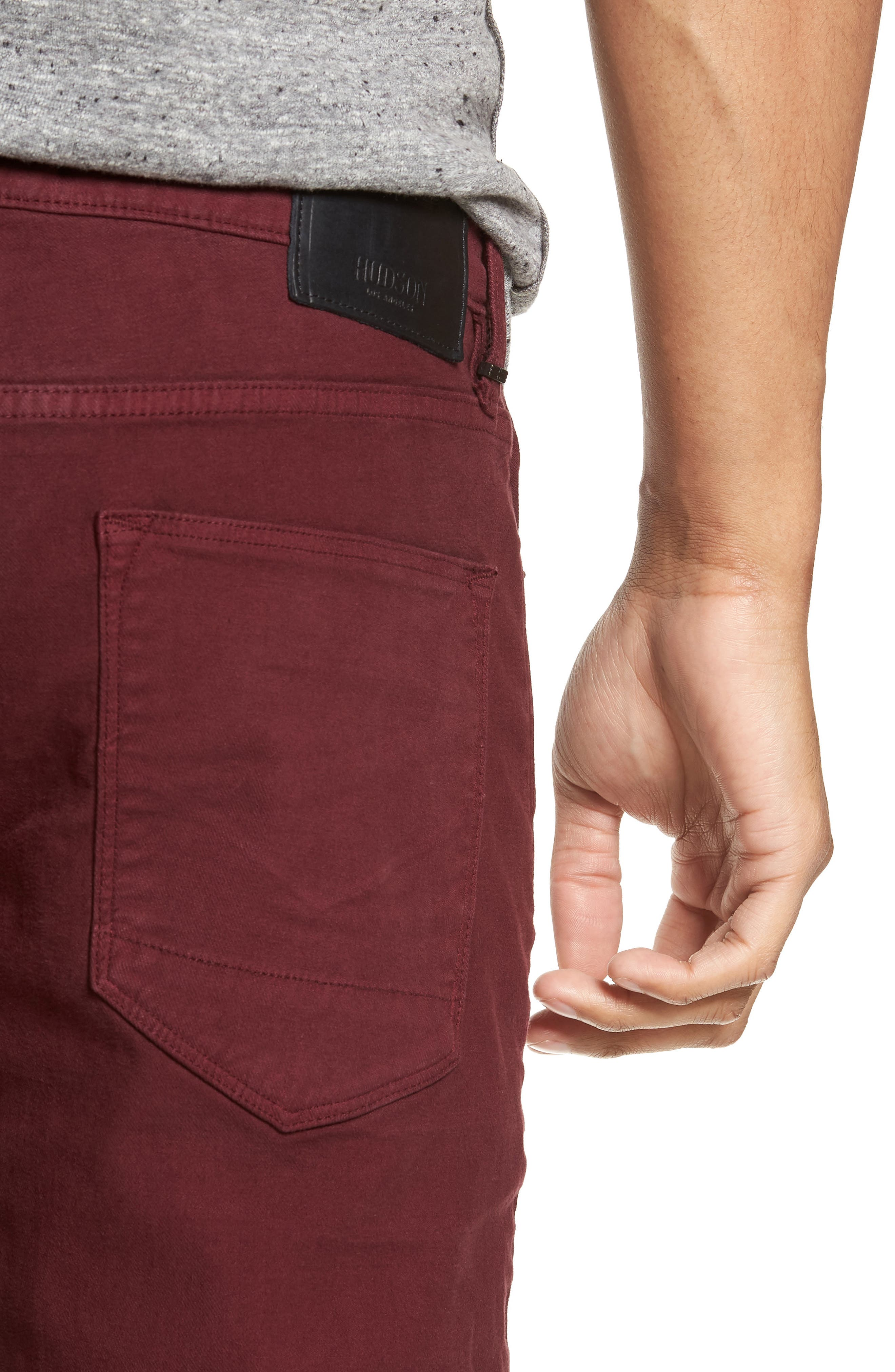 Axl Skinny Fit Twill Jeans,                             Alternate thumbnail 4, color,                             OXBLOOD
