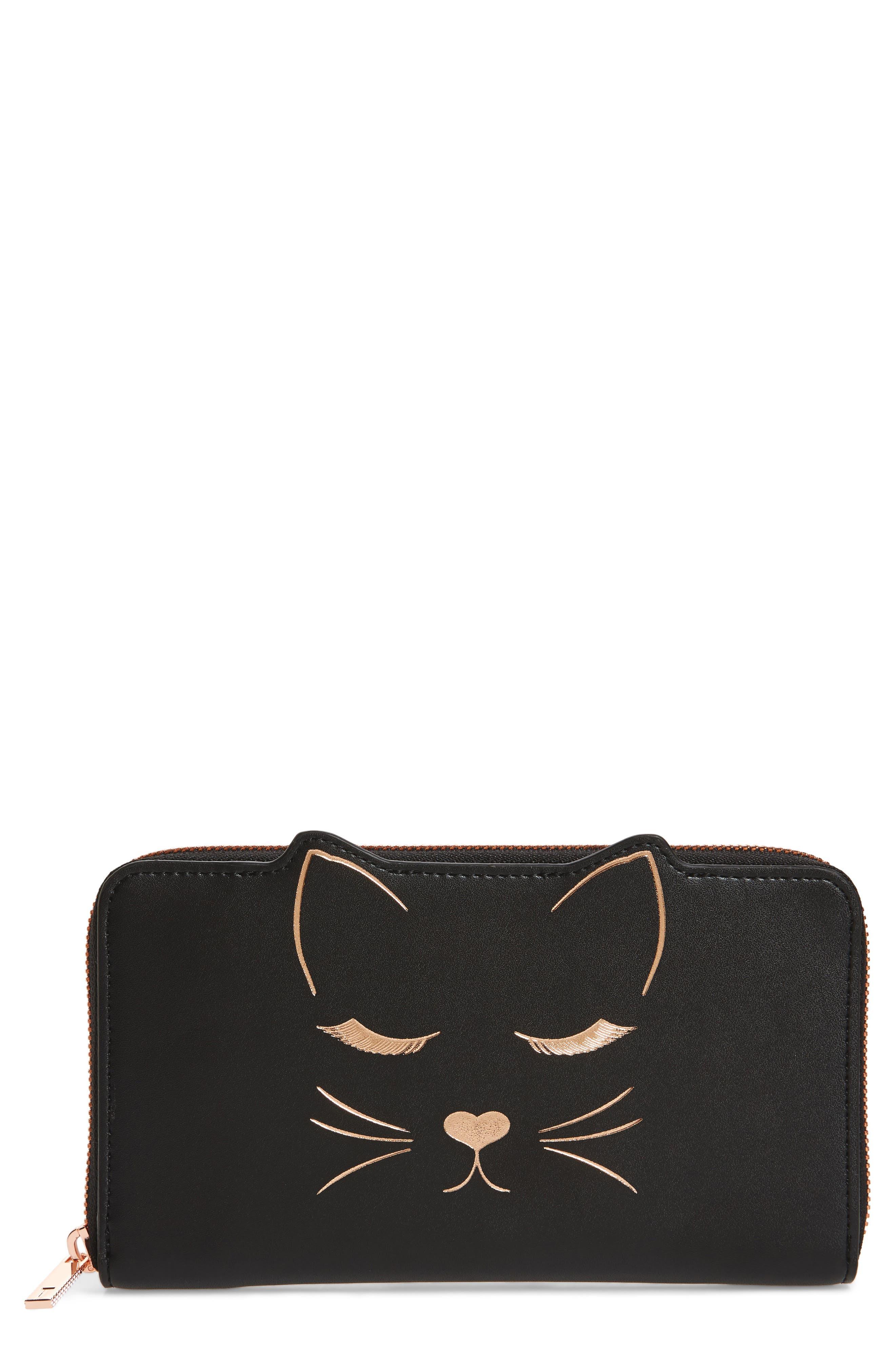 Tammy Cat Matinée Zip Wallet,                             Main thumbnail 1, color,                             001