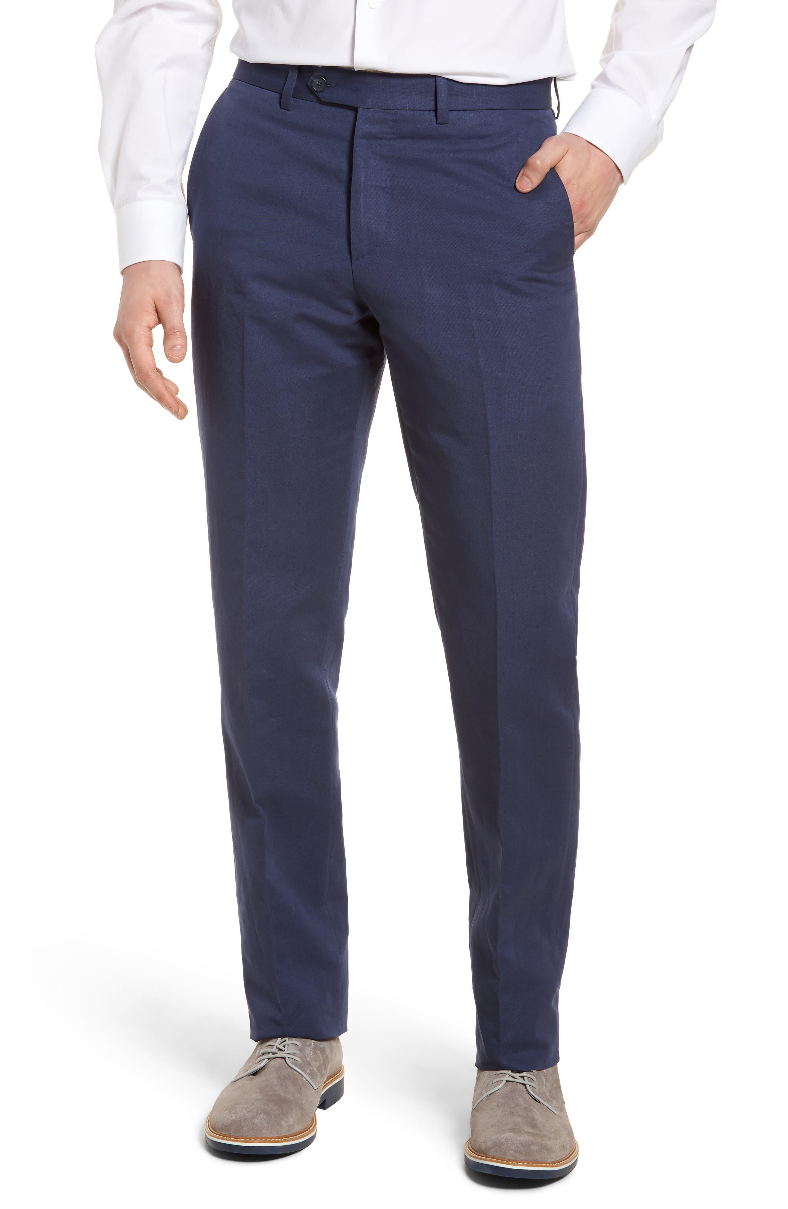 Flat Front Solid Cotton & Linen Trousers,                             Main thumbnail 4, color,