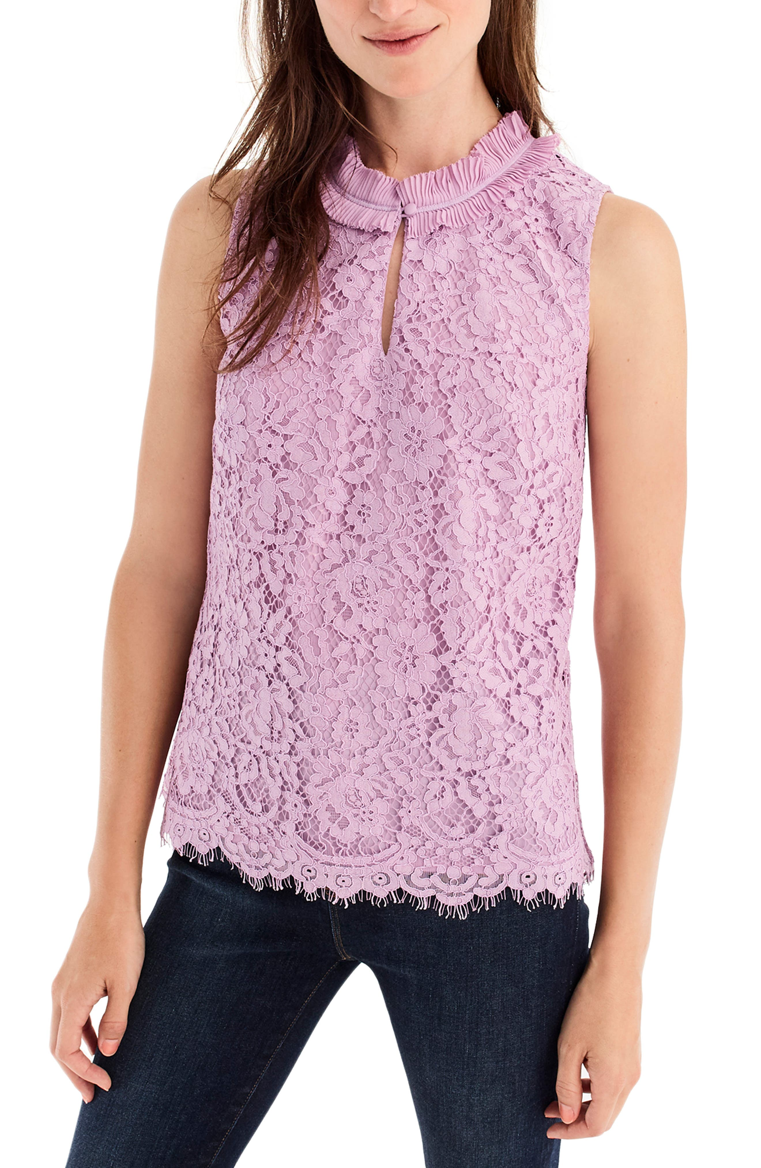 Lace Ruffle Neck Top,                             Main thumbnail 1, color,                             VIVID LILAC