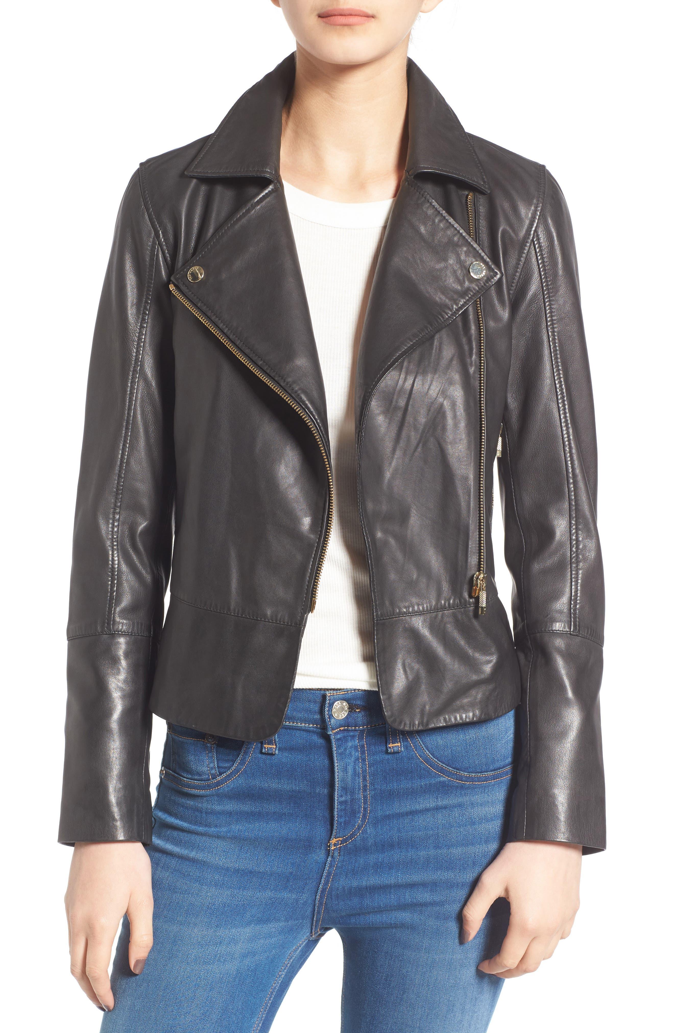 Minimal Leather Biker Jacket,                             Main thumbnail 1, color,                             001