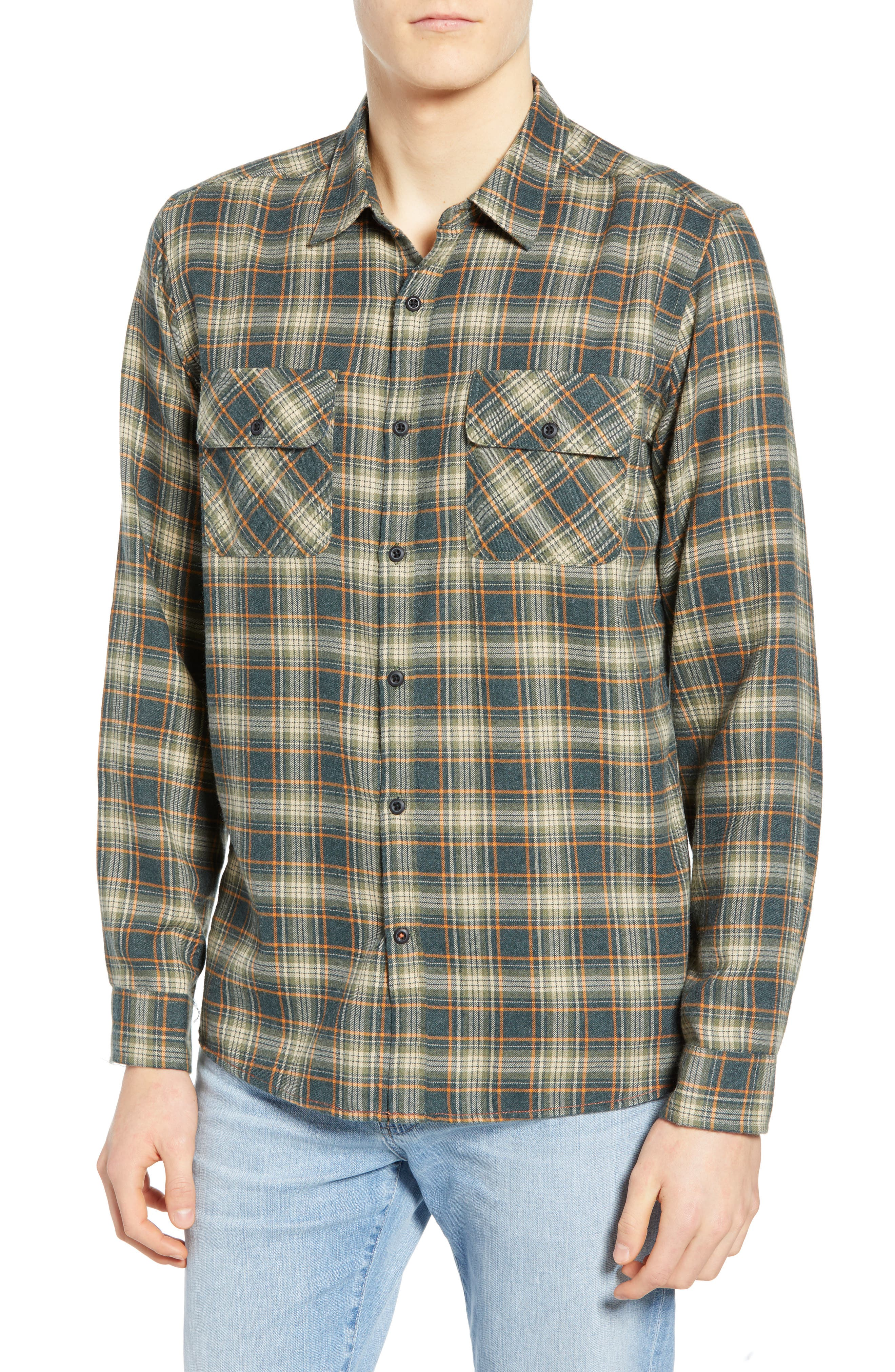 Hurley Walker Plaid Flannel Shirt, Green