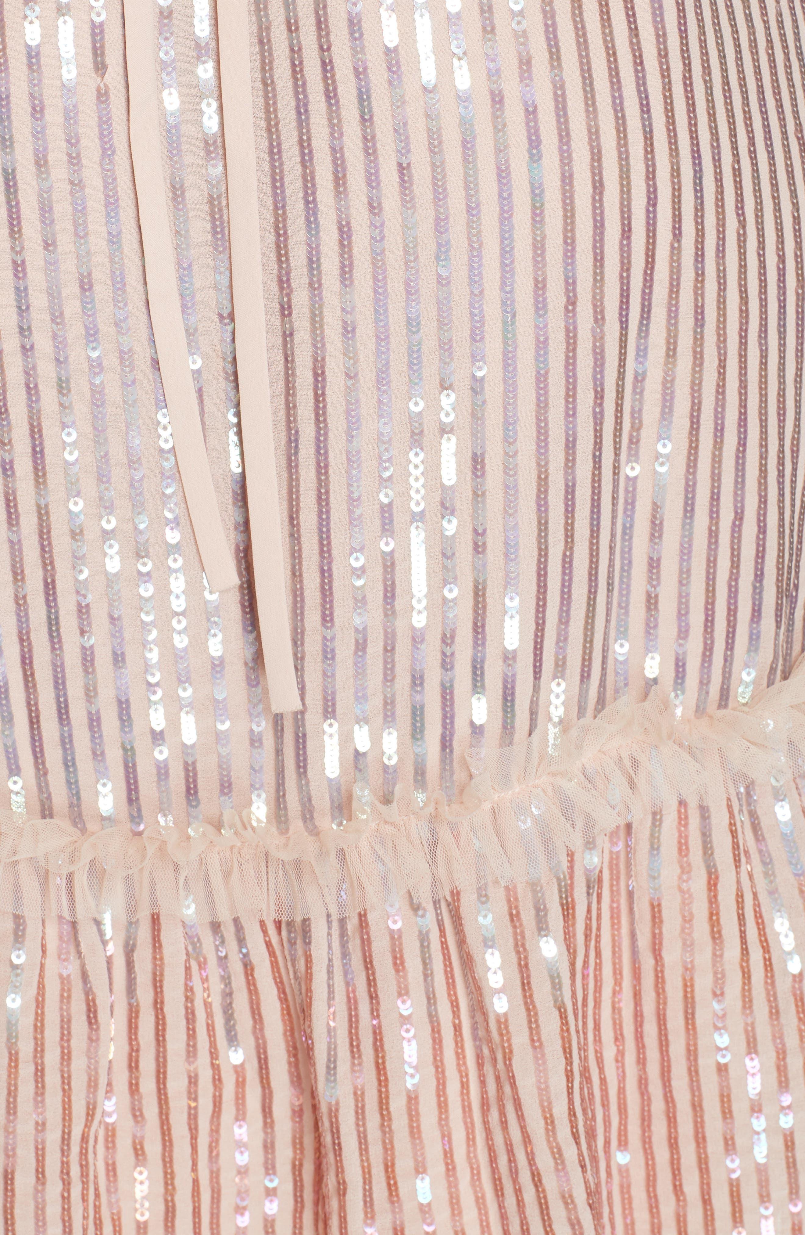 Gloss Sequin Ruffle Dress,                             Alternate thumbnail 6, color,                             DUSK BLUE