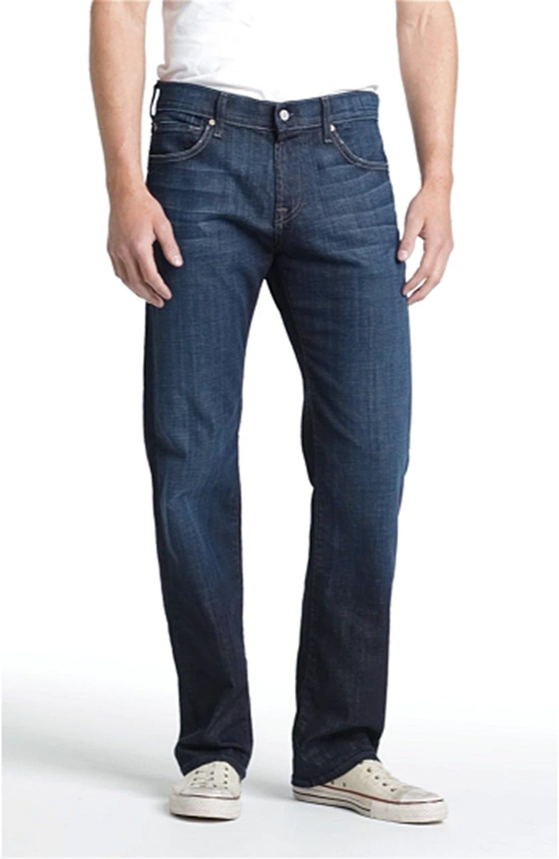 7 FOR ALL MANKIND<SUP>®</SUP>,                             Austyn Relaxed Straight Leg Jeans,                             Alternate thumbnail 3, color,                             LOS ANGELES DARK